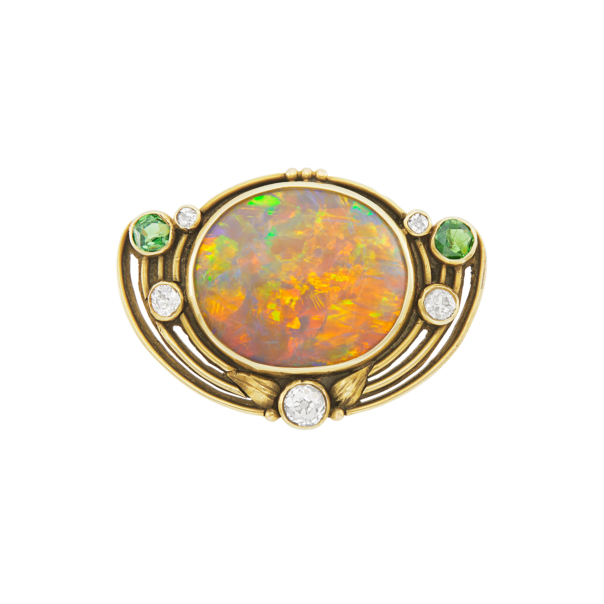 Lot image - Arts and Crafts Gold, Opal, Demantoid Garnet and Diamond Pin