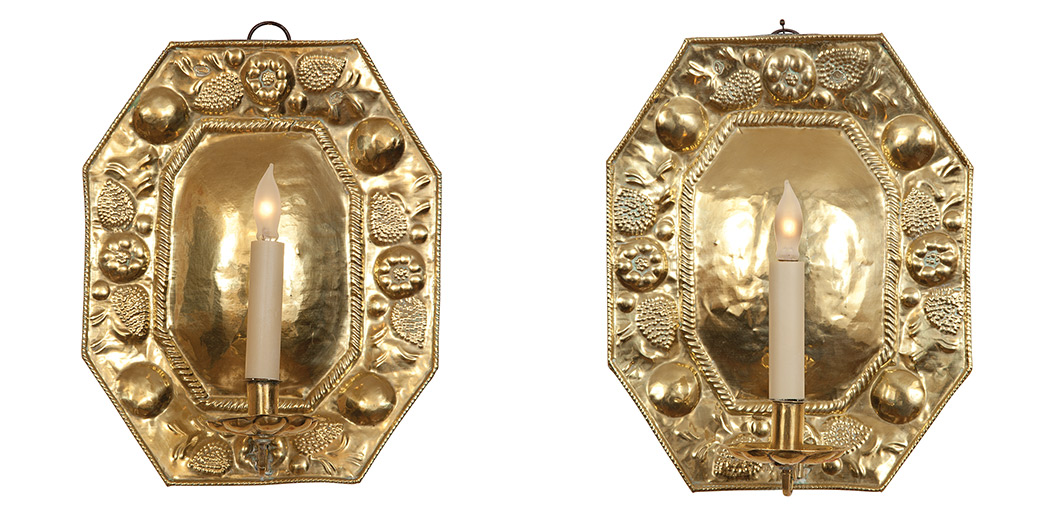 Lot image - Pair of Continental Brass Sconces