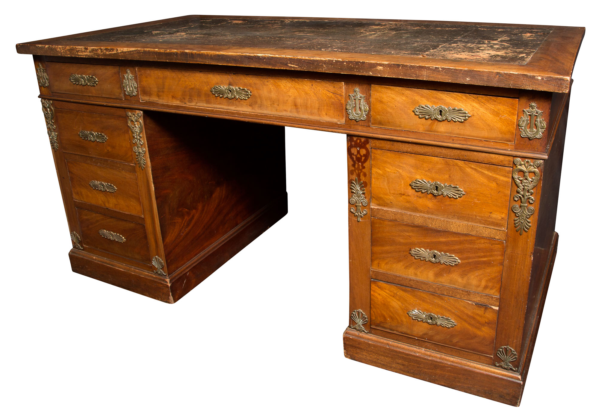 Lot image - Empire Style Ormolu-Mounted Mahogany Pedestal Desk
