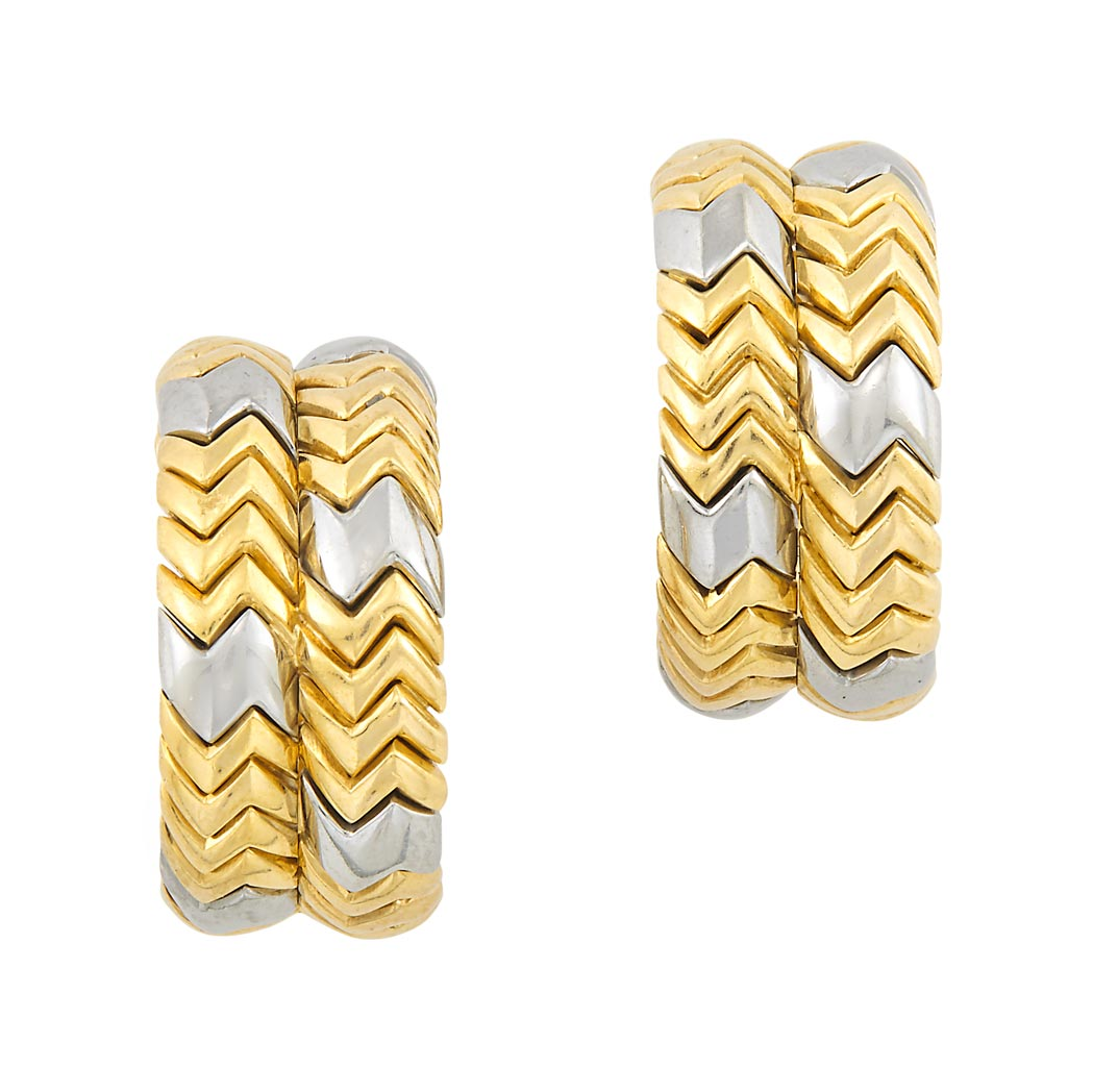 Lot image - Pair of Gold and Stainless Steel 'Spiga' Hoop Earclips, Bulgari