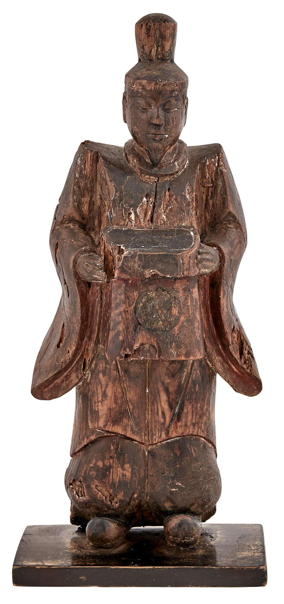 Lot image - Japanese Wood Sculpture of a Priest