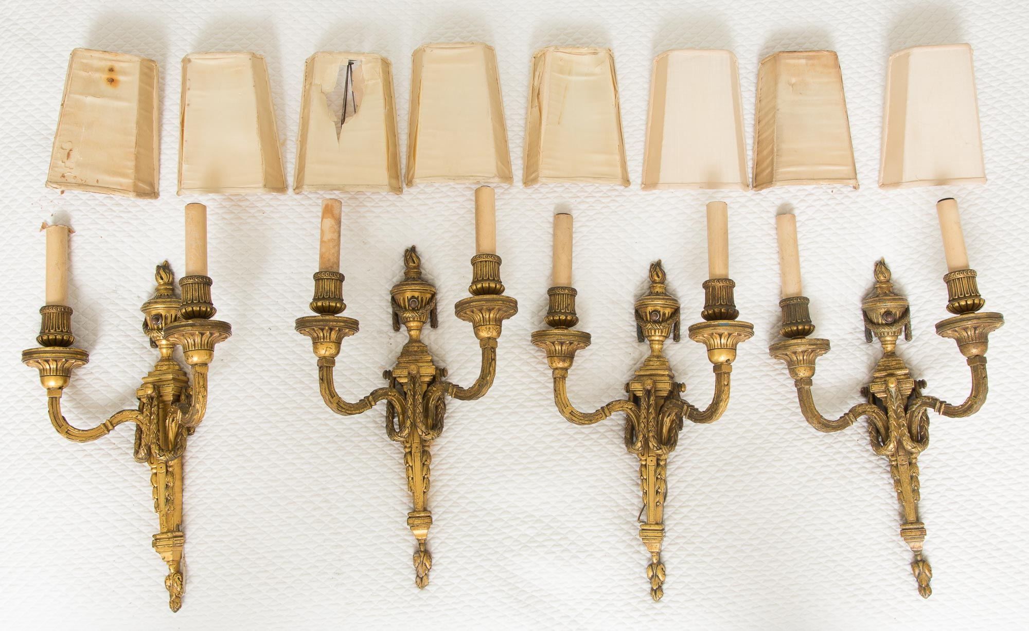 Lot image - Set of Four Louis XVI Style Gilt-Bronze Two-Light Sconces