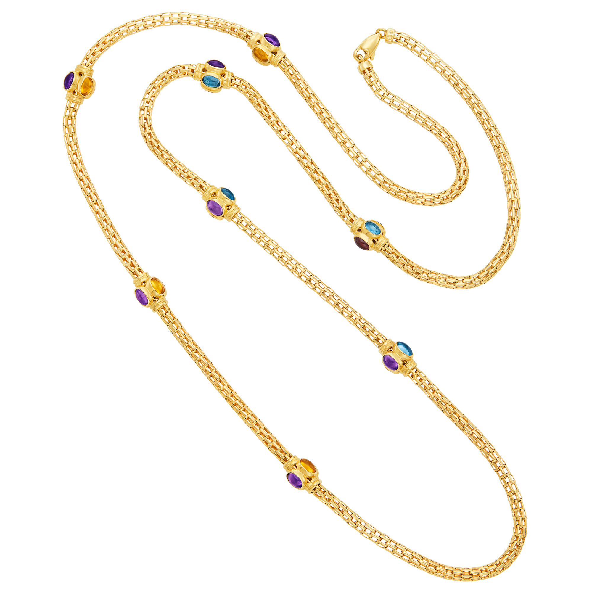 Lot image - Long Gold and Cabochon Colored Stone Chain Necklace
