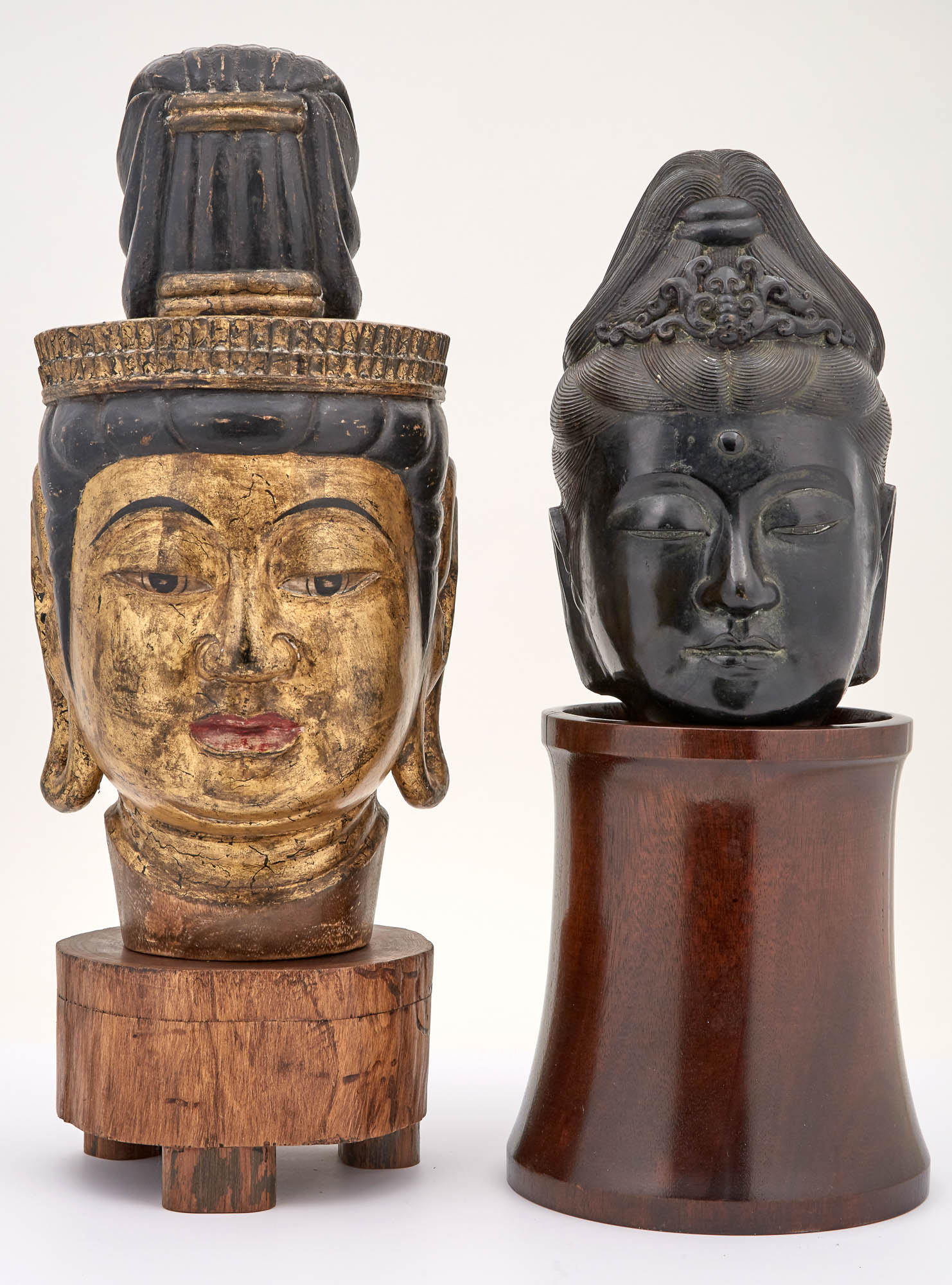 Lot image - Chinese Giltwood Head of Guanyin; Together with a Bronze Head of Guanyin
