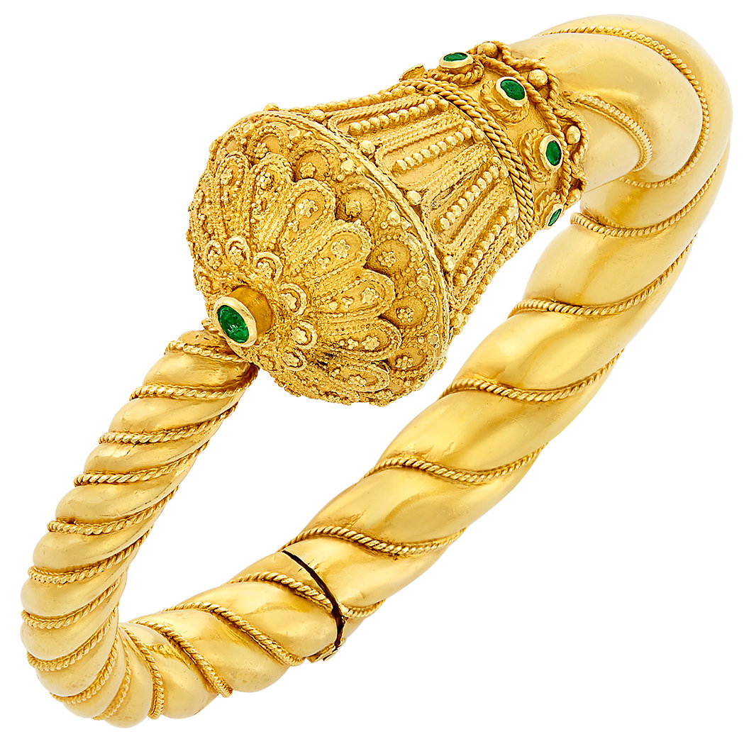 Lot image - High Karat Gold and Emerald Bangle Bracelet