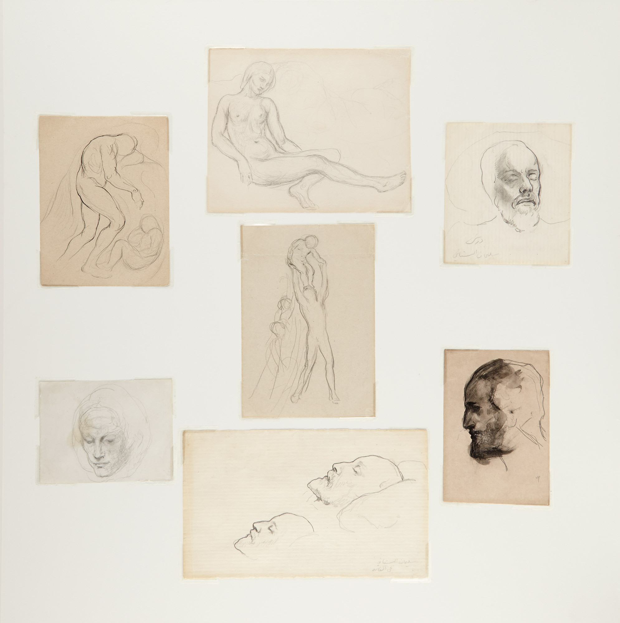 Lot image - GIBRAN, KAHLIL (1883-1931)  Group of seven drawings framed together