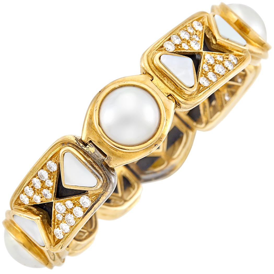 Lot image - Gold, Blackened Steel, Mabé Pearl, Mother-of-Pearl and Diamond Bangle Bracelet