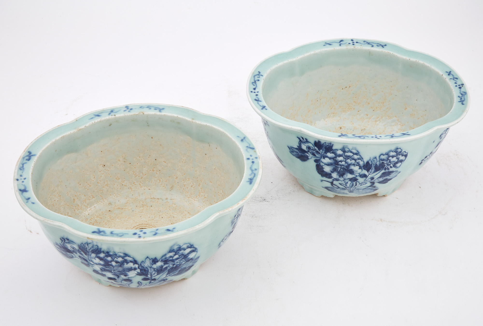 Lot image - Pair of Chinese Blue and White Celadon Porcelain Jardinières