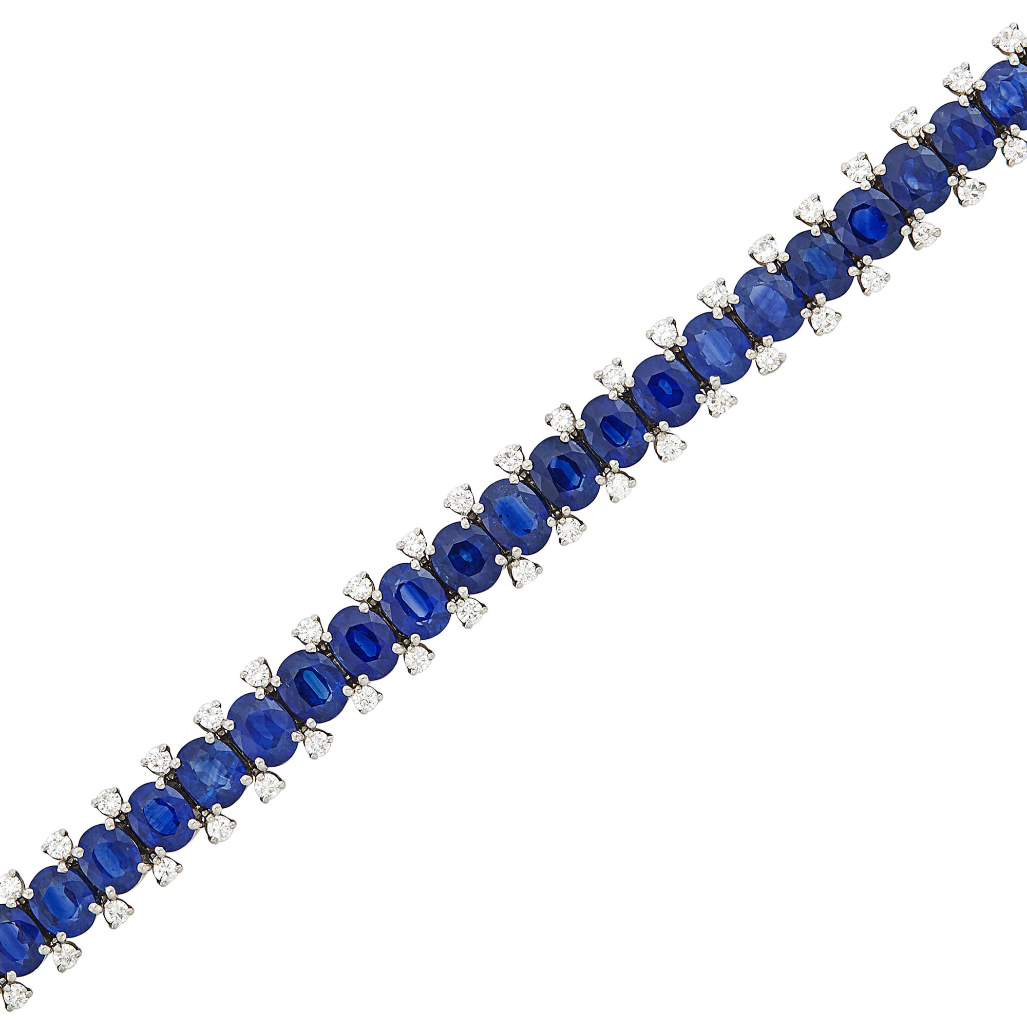 Lot image - Platinum, Sapphire and Diamond Bracelet
