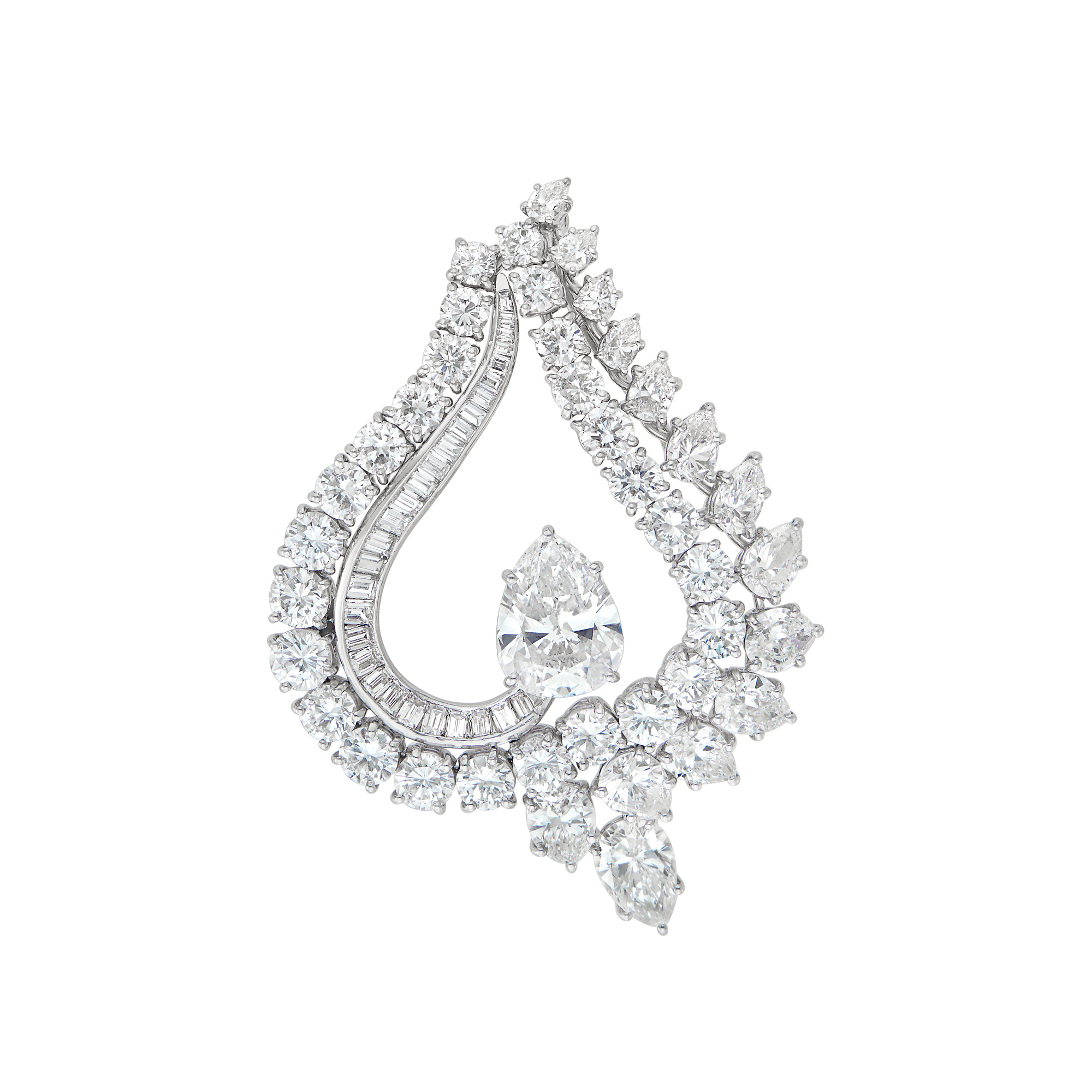 Lot image - Platinum and Diamond Pendant-Brooch, Harry Winston