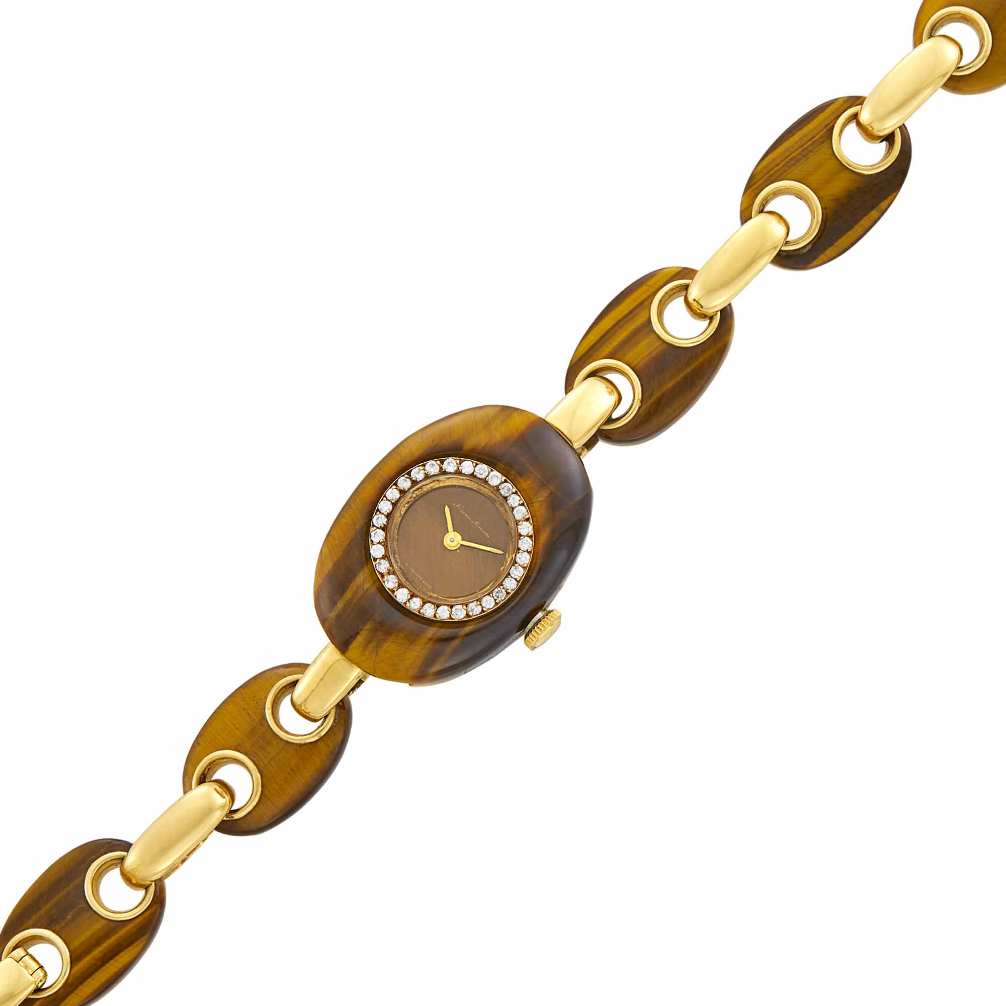 Lot image - Barthelay Gold and Tigers Eye Bracelet-Watch, Retailed by Neiman Marcus, France