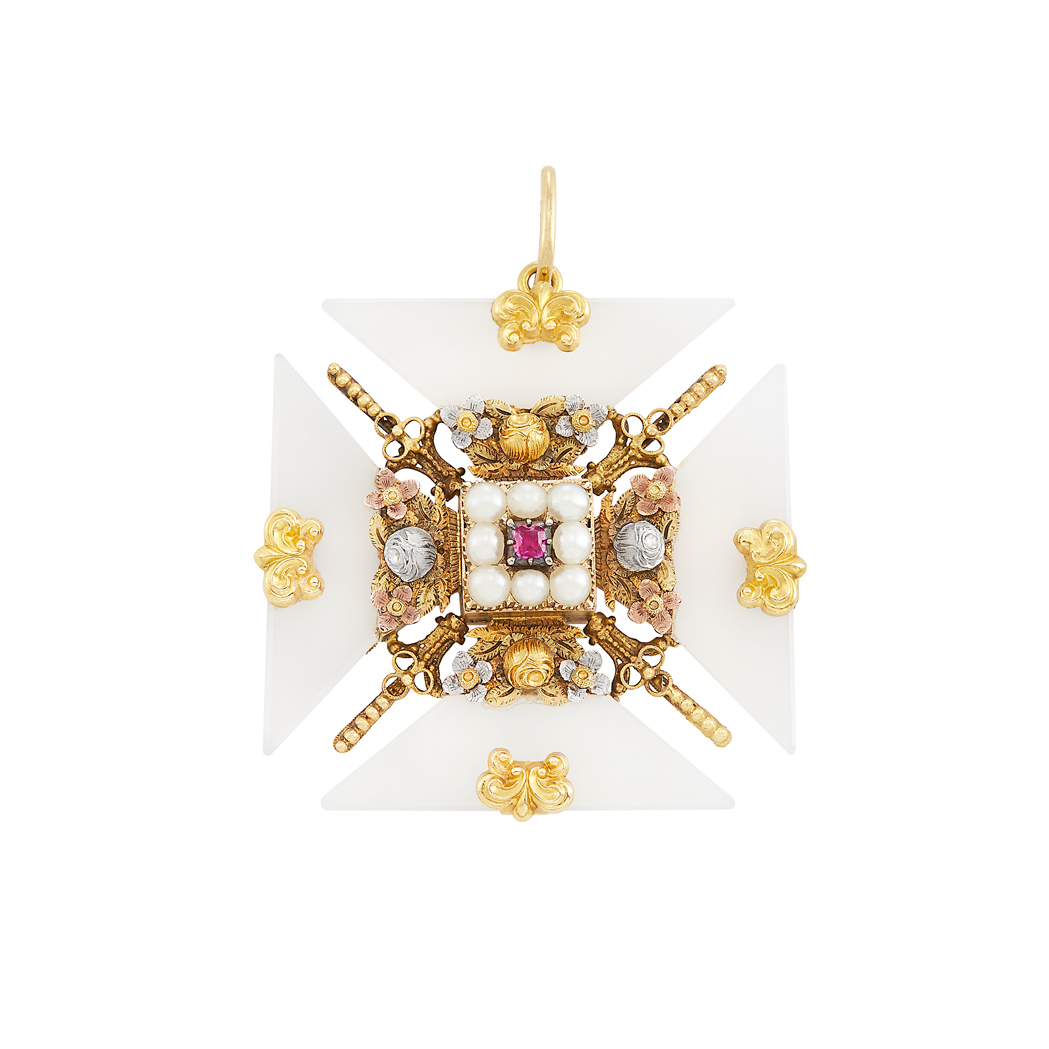 Lot image - Antique Two-Color Gold, Silver, Split Pearl and Colored Stone Cannetille Maltese Cross Pendant