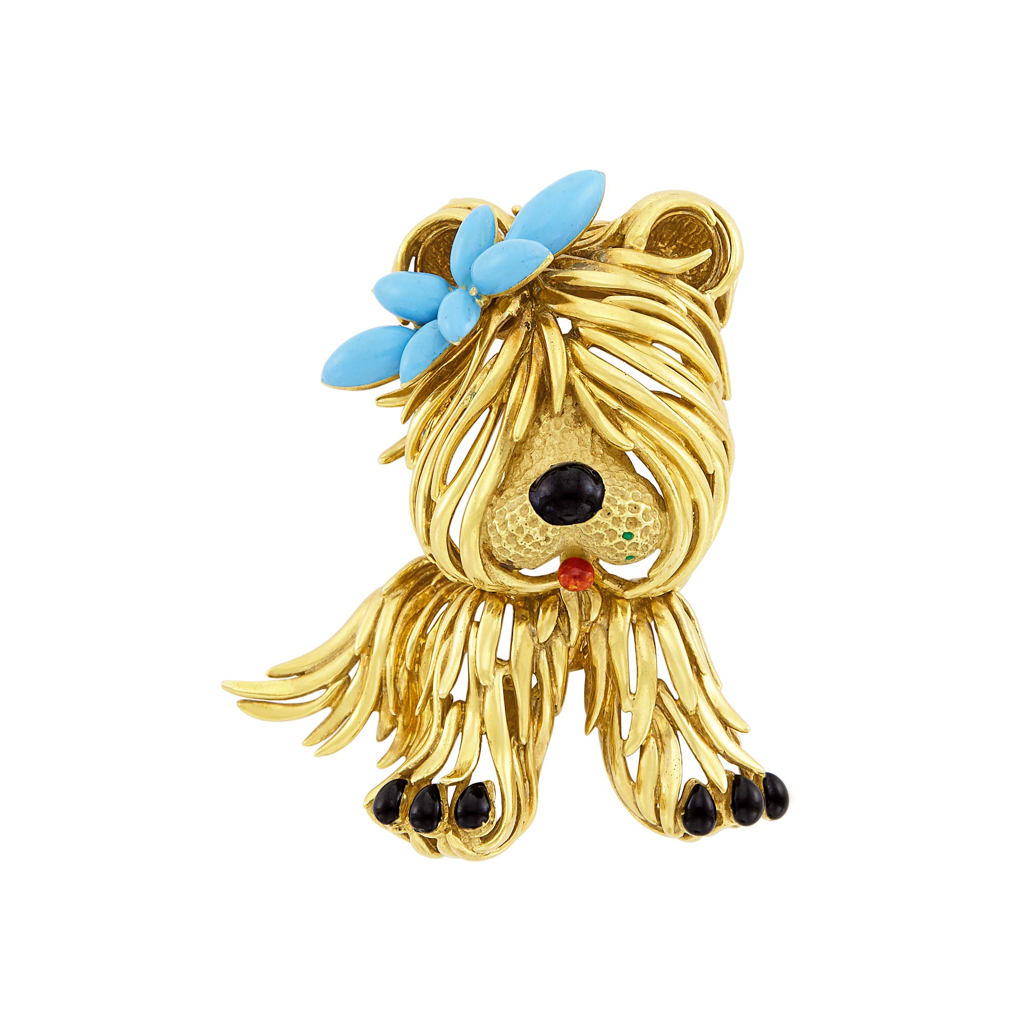 Lot image - Gold and Enamel Dog Clip-Brooch, Fred, Paris