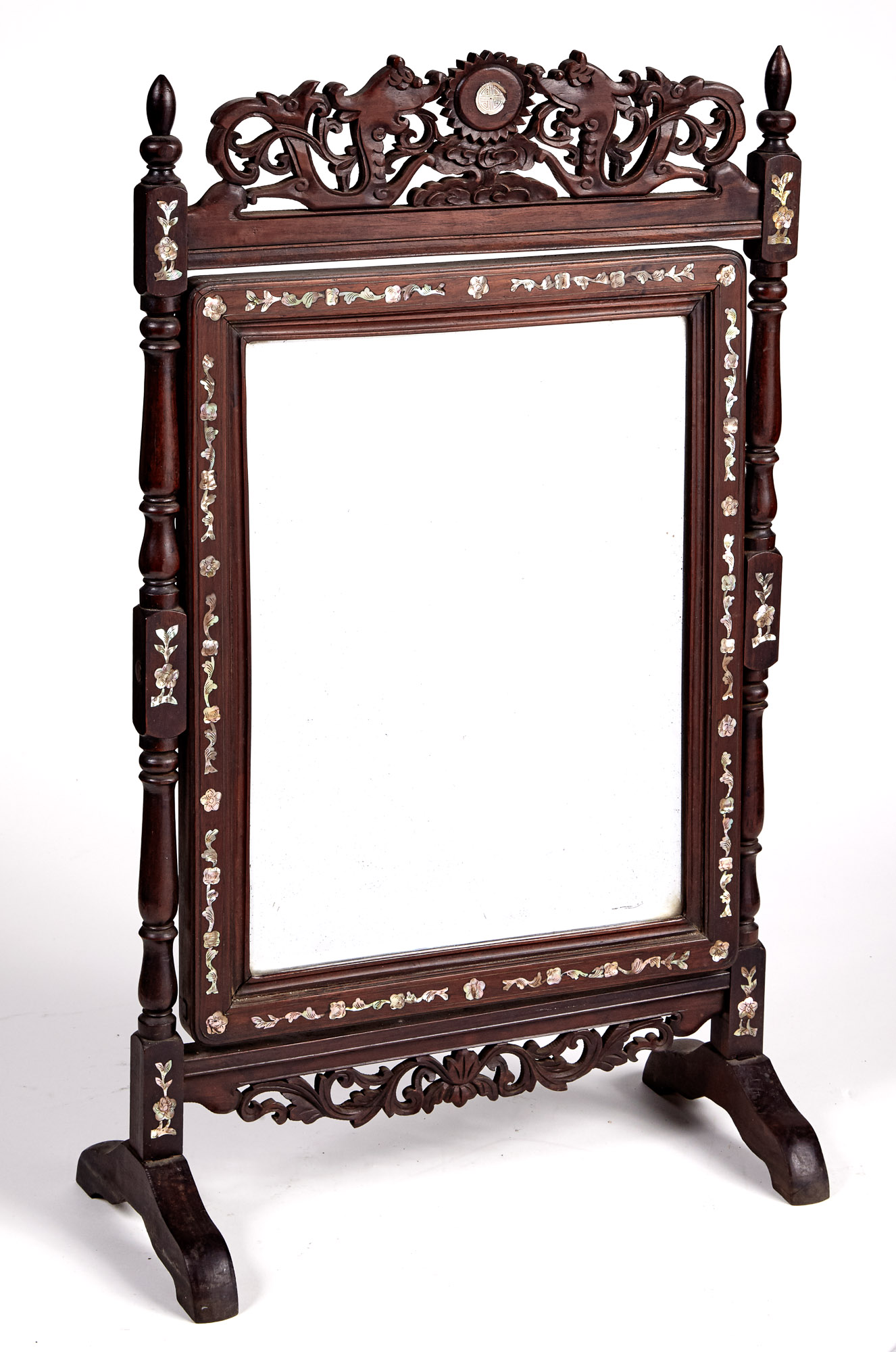 Lot image - Chinese Mother-of-Pearl Inlaid Hardwood Swivel Dressing Table Mirror