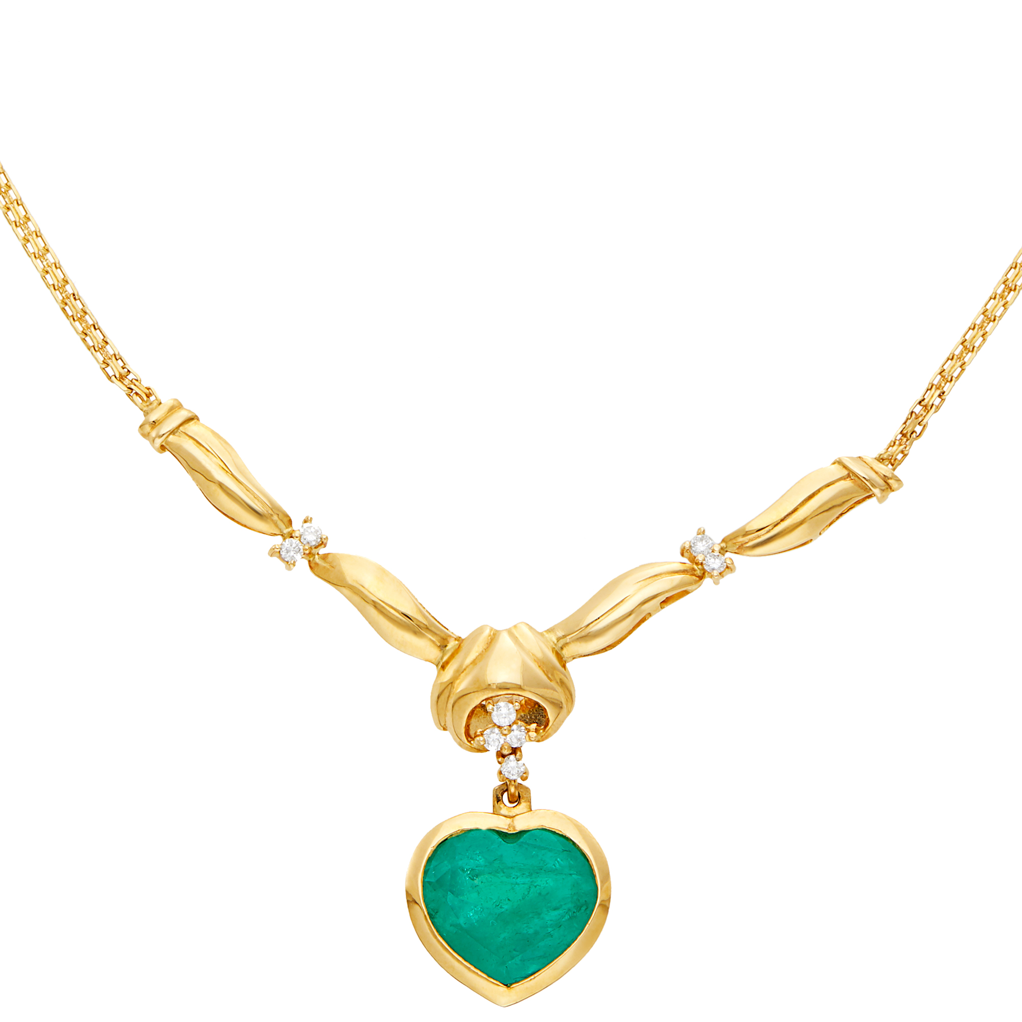 Lot image - Gold, Emerald and Diamond Pendant Chain Necklace