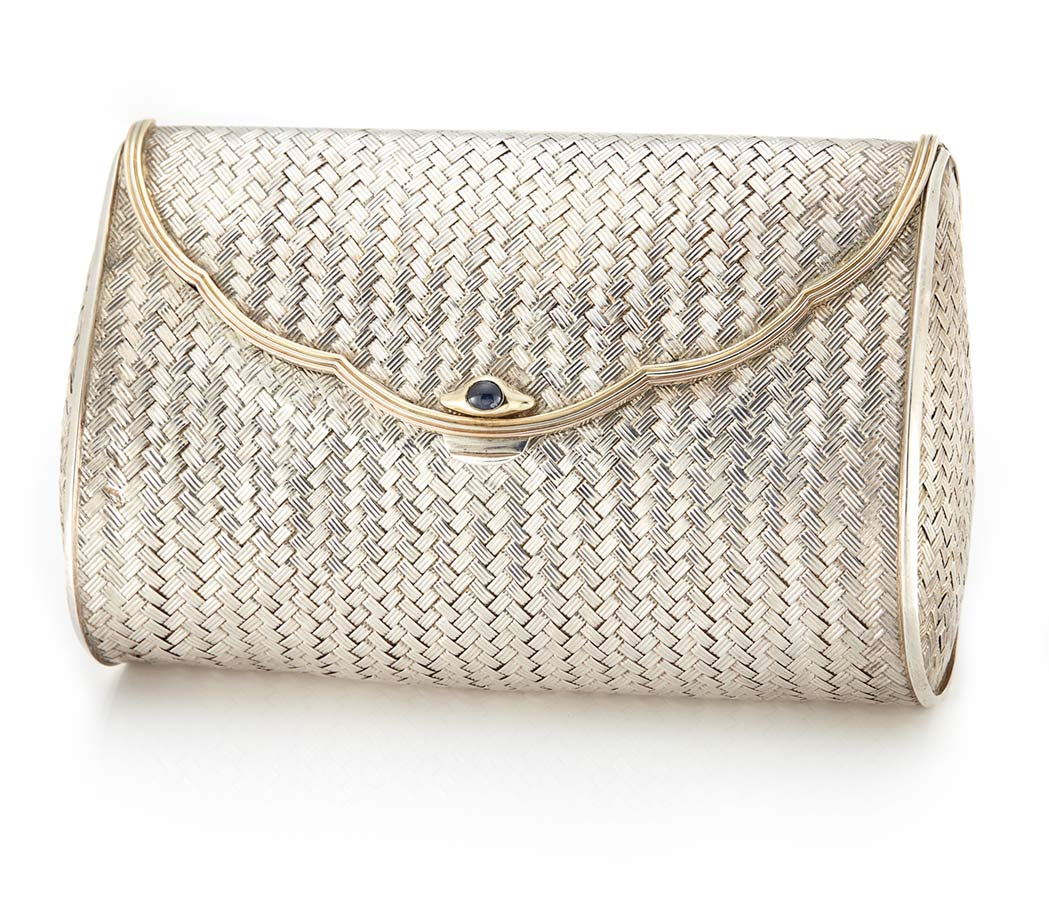 Lot image - Ladys Sterling Silver, Tricolor Gold and Cabochon Sapphire Evening Clutch, Cartier
