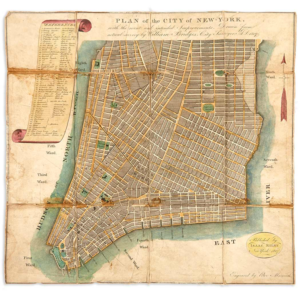 Lot image - [MANHATTAN-MAPS]  [MITCHILL, SAMUEL]. The Picture of New-York; or the Travellers Guide through the Commercial Metropolis of the United States.