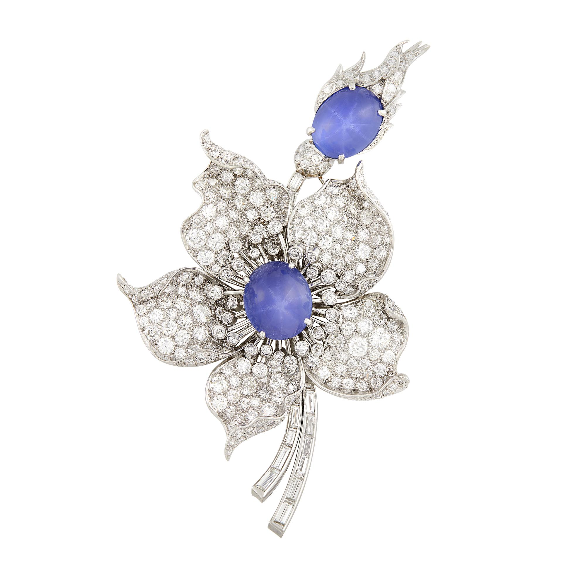 Lot image - Platinum, Star Sapphire and Diamond Flower Brooch
