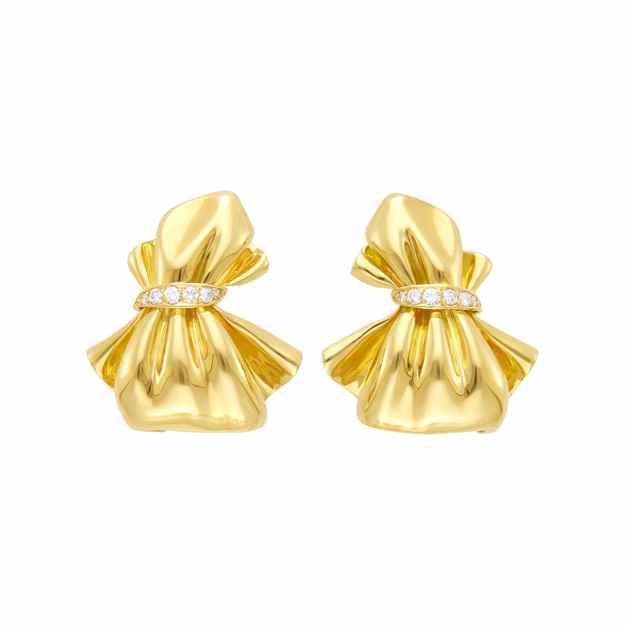 Lot image - Van Cleef & Arpels Pair of Gold and Diamond Bow Earrings, France
