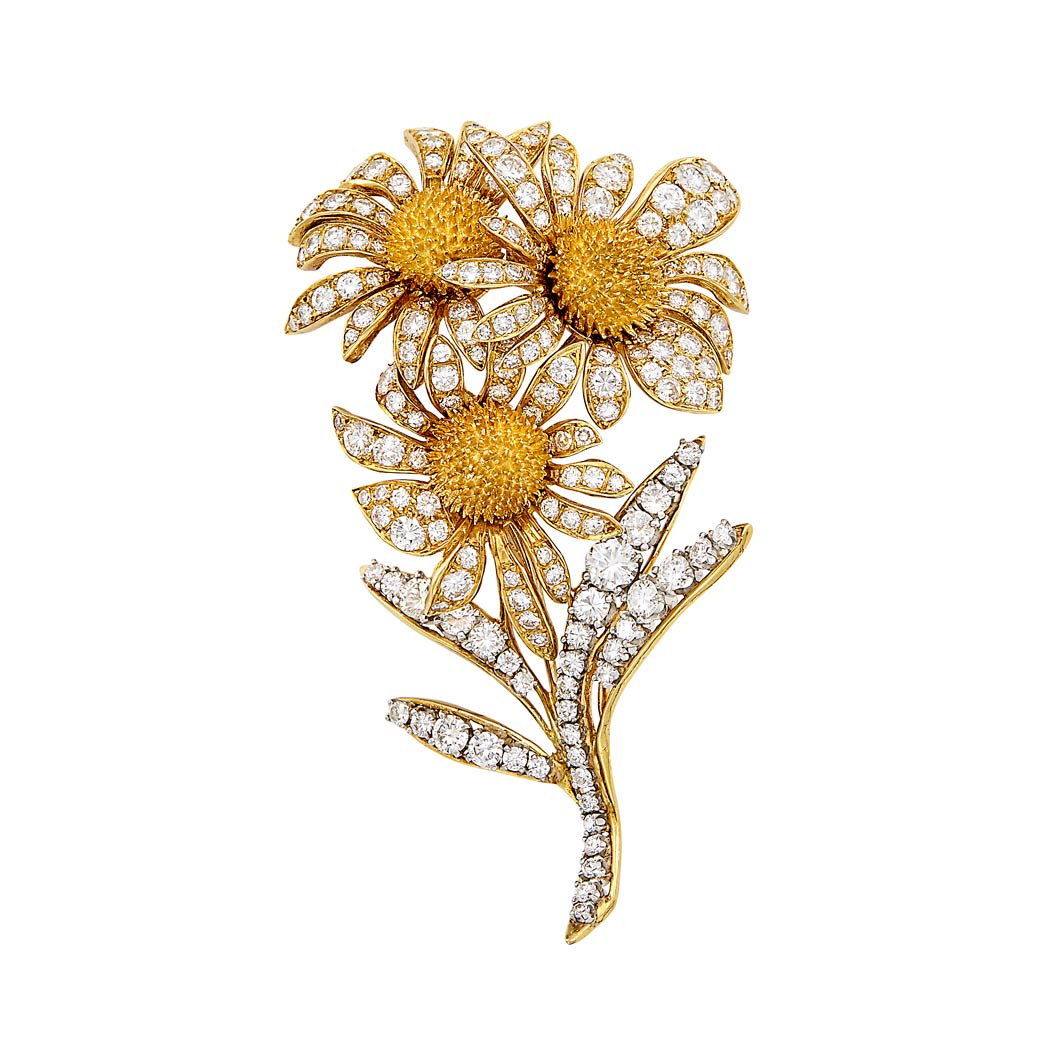 Lot image - Gold and Diamond Flower Clip-Brooch