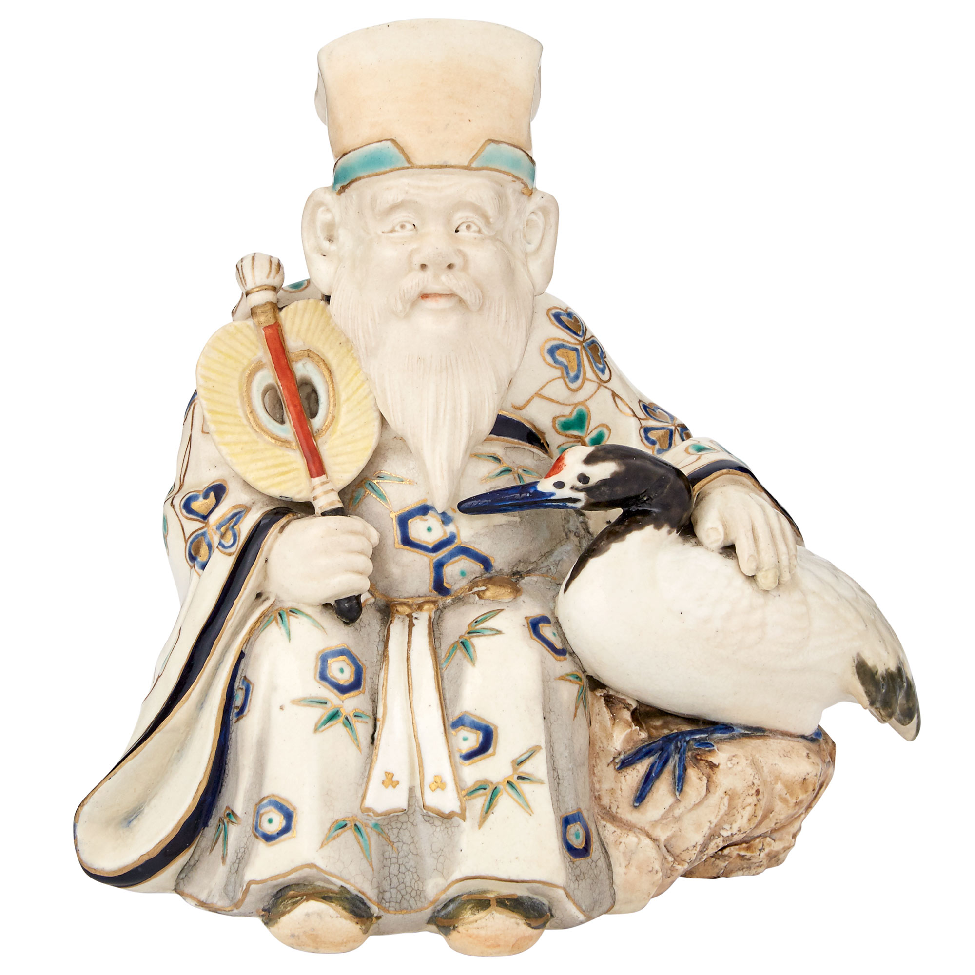 Lot image - Japanese Satsuma Figure of Fukurokuju