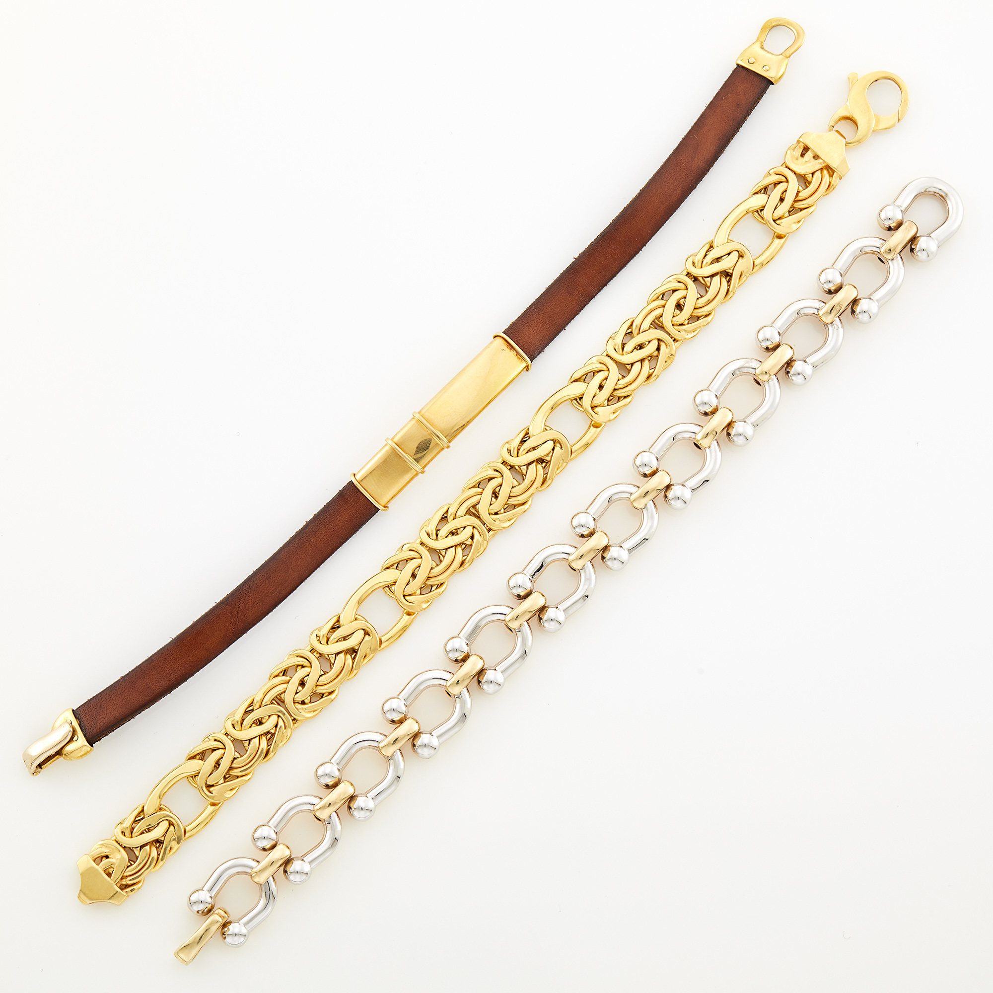 Lot image - Two-Color Gold Link Bracelet, Gold Bracelet and Leather Bracelet