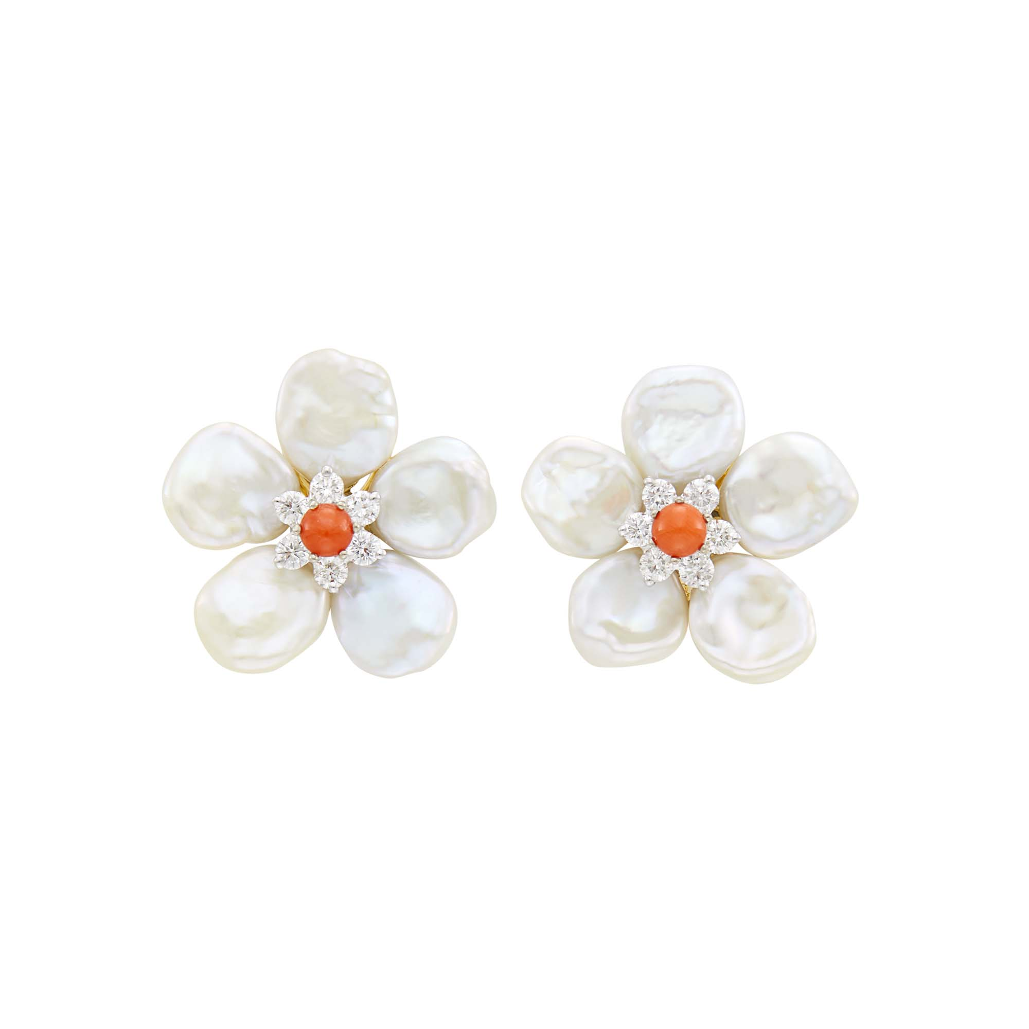 Lot image - Seaman Schepps Pair of Two-Color Gold, Freshwater Pearl, Coral and Diamond Flower Earclips