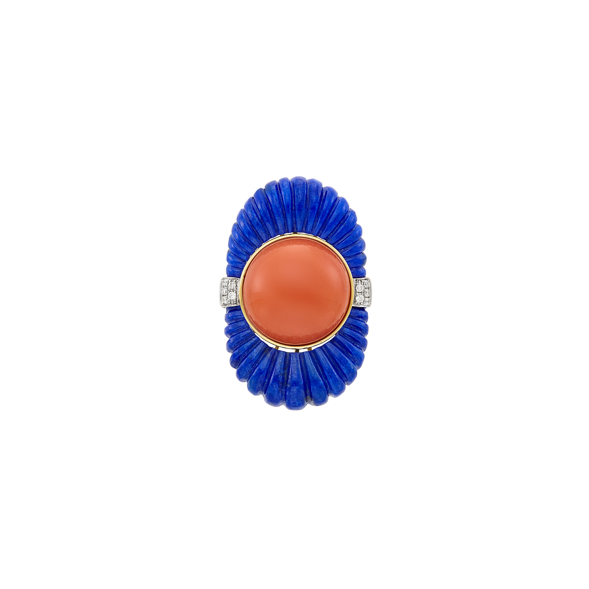 Lot image - Gold, Fluted Lapis, Coral and Diamond Ring