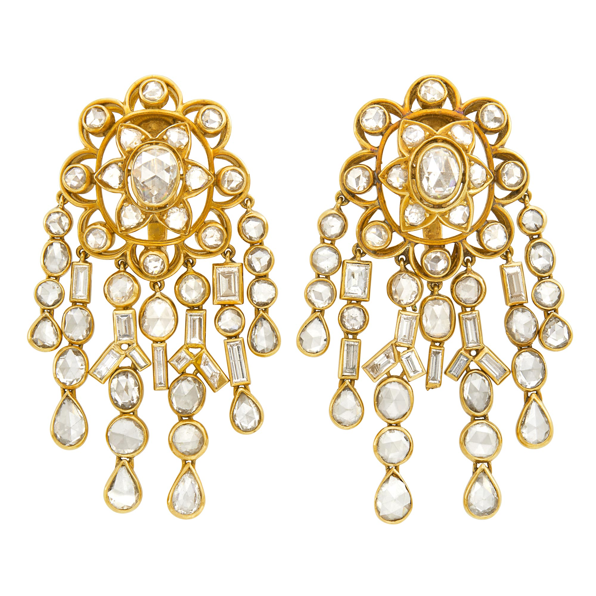 Lot image - Pair of Gold and Diamond Fringe Earclips