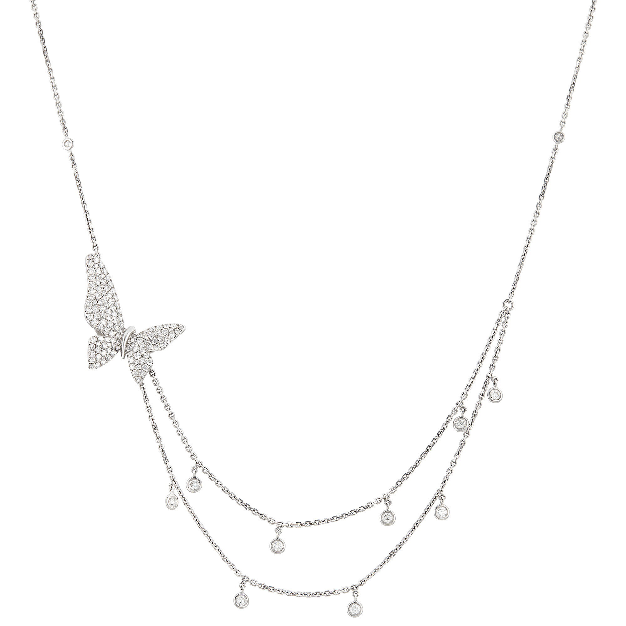 Lot image - White Gold and Diamond Butterfly Necklace