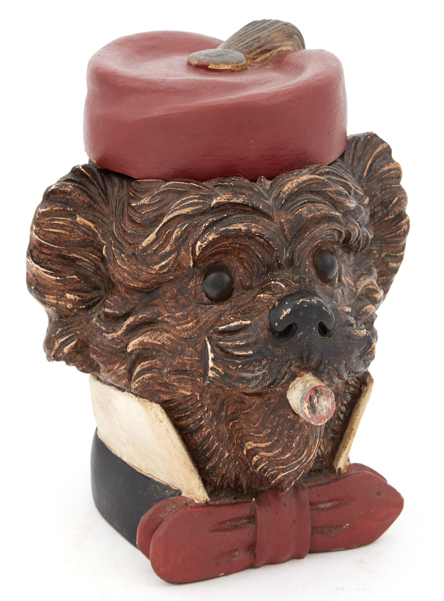 Lot image - Painted Wood Dog-Form Tobacco Box