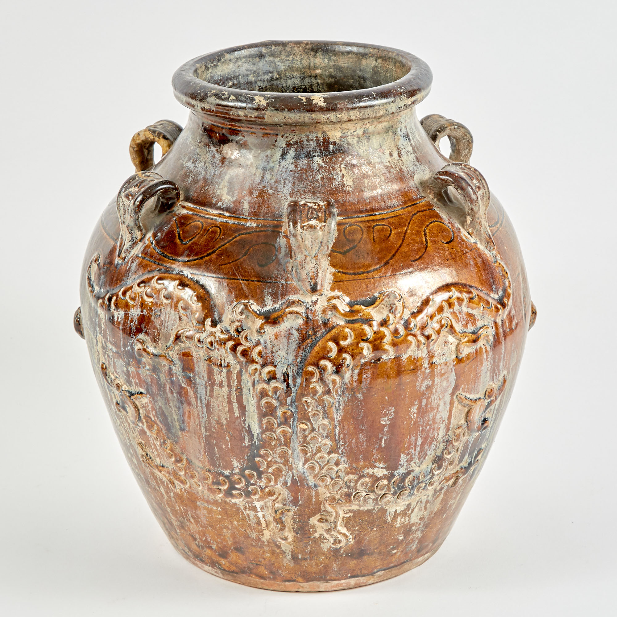 Lot image - Chinese or Southeast Asian Brown-Glazed Martaban Storage Jar