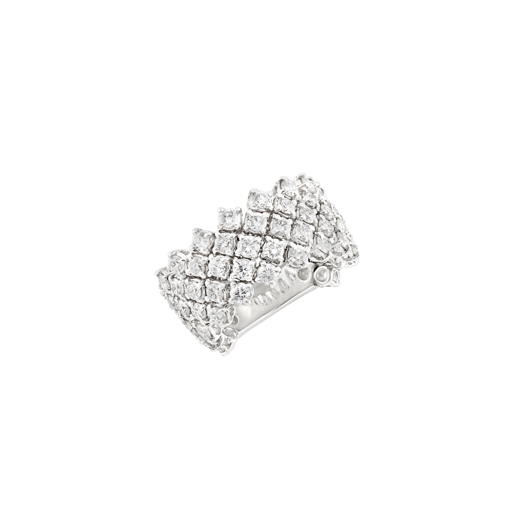 Lot image - Flexible White Gold and Diamond Band Ring