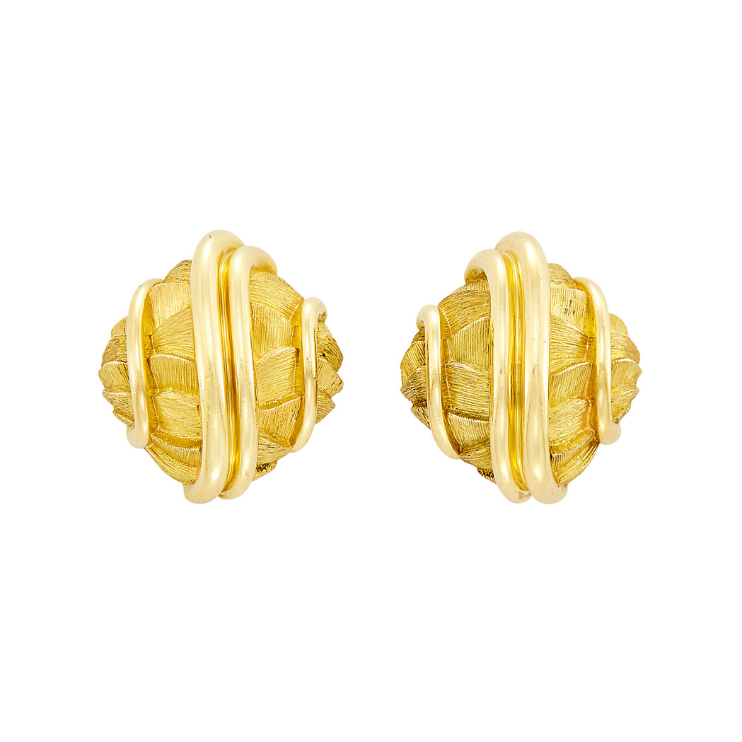 Lot image - Pair of Gold Earclips, Henry Dunay