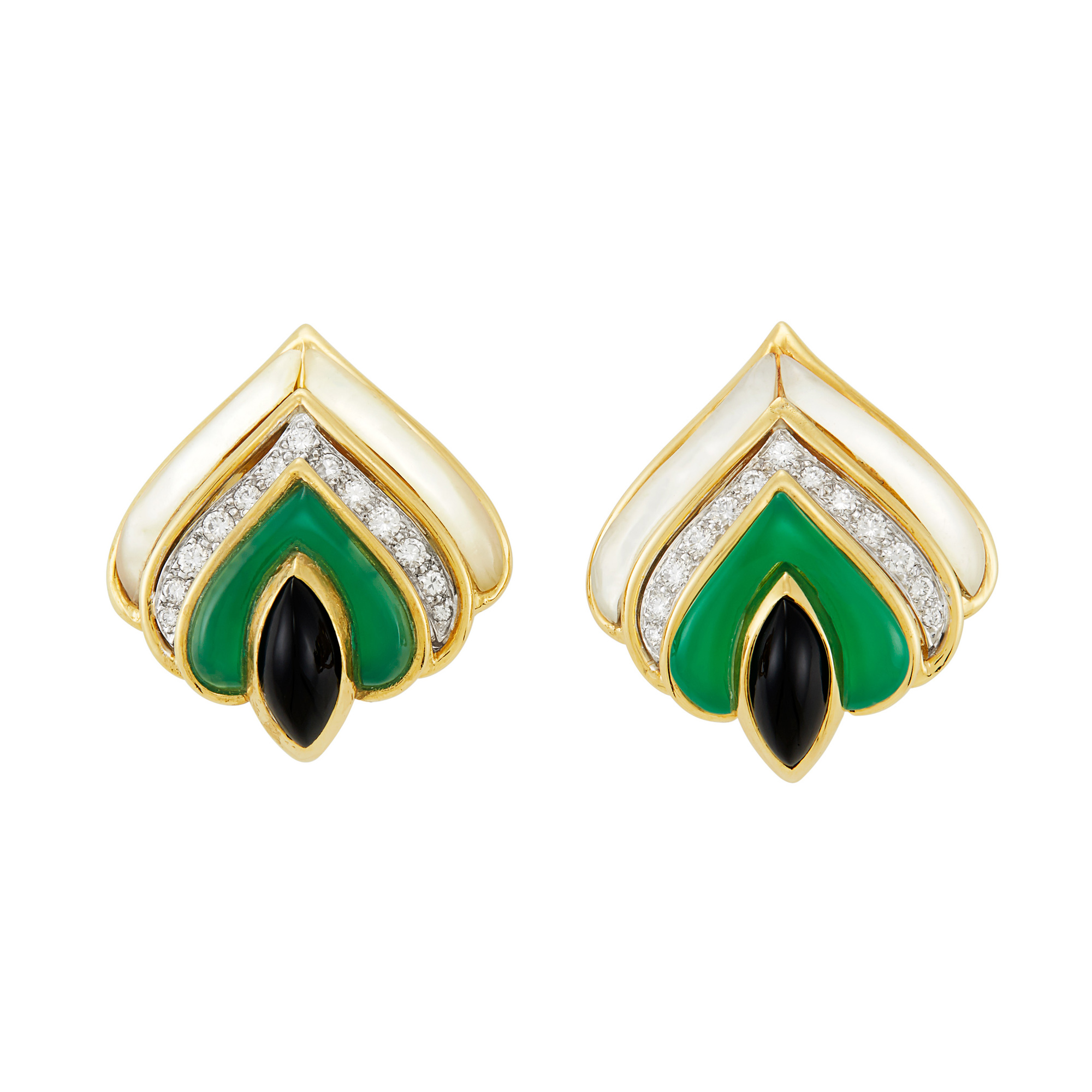 Lot image - Pair of Gold, Mother-of-Pearl, Green and Black Onyx and Diamond Earclips