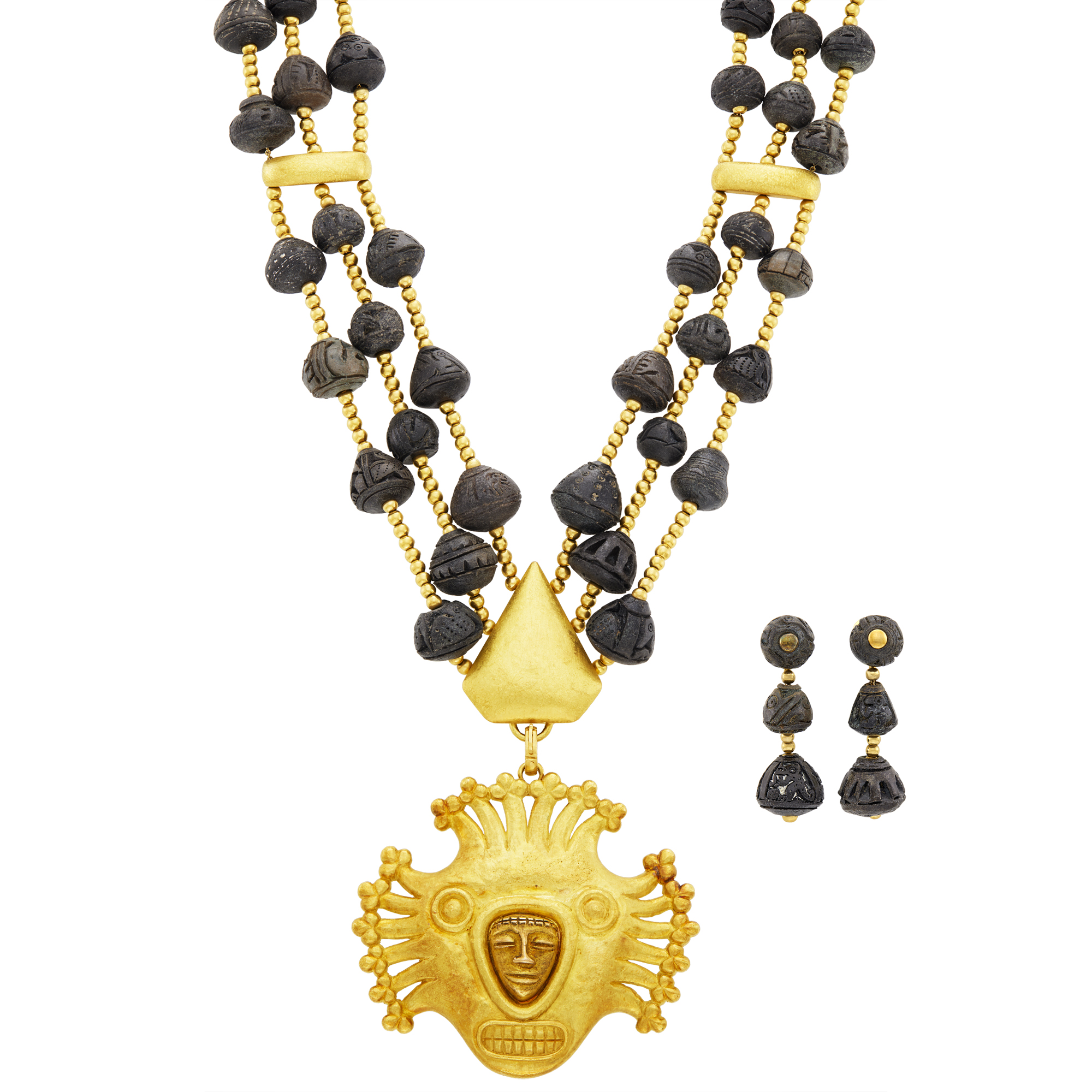 Lot image - David Webb Long Triple Strand Gold and Molded Glass Bead Pendant-Brooch Necklace and Pair of Pendant-Earclips