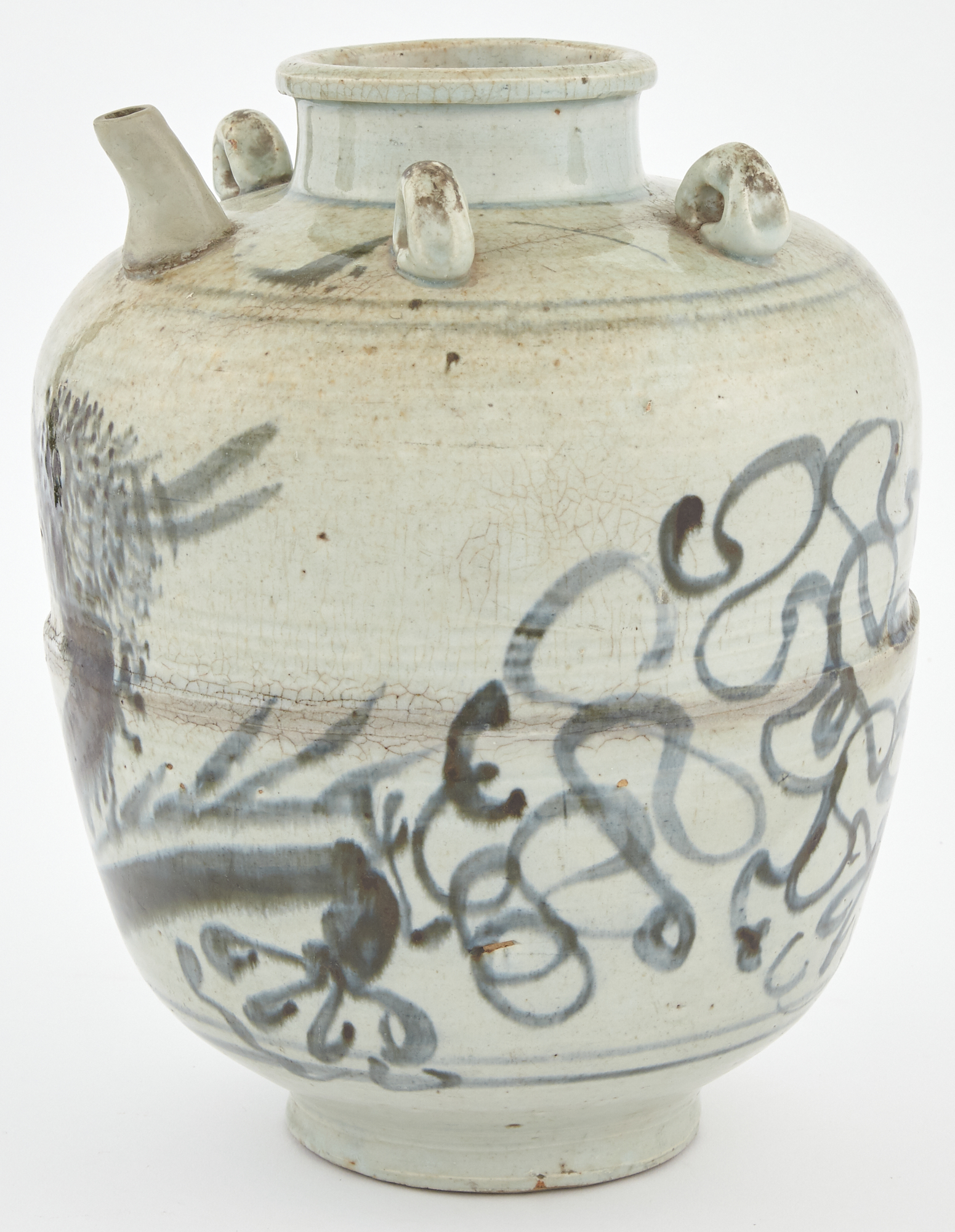 Lot image - Provincial Chinese Glazed Stoneware Spouted Jar