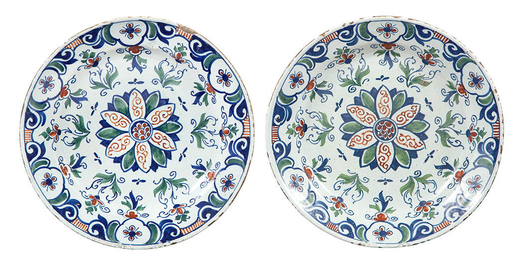 Lot image - Pair of English Delft Polychrome Decorated Chargers