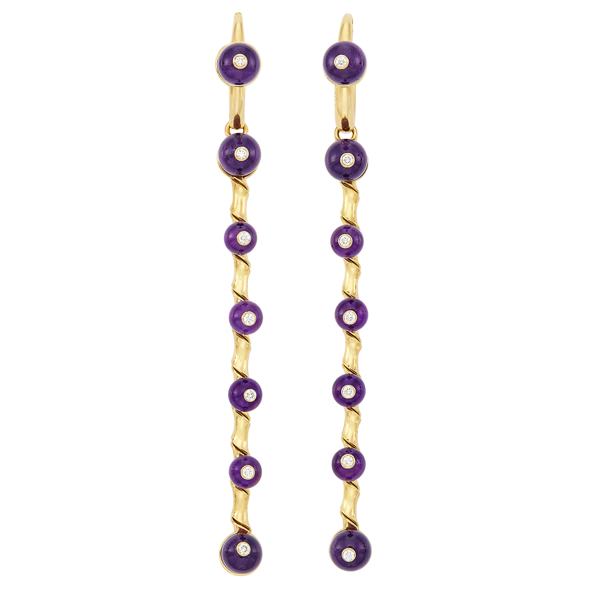 Lot image - Pair of Gold, Amethyst Bead and Diamond Pendant-Earrings, Aletto Brothers