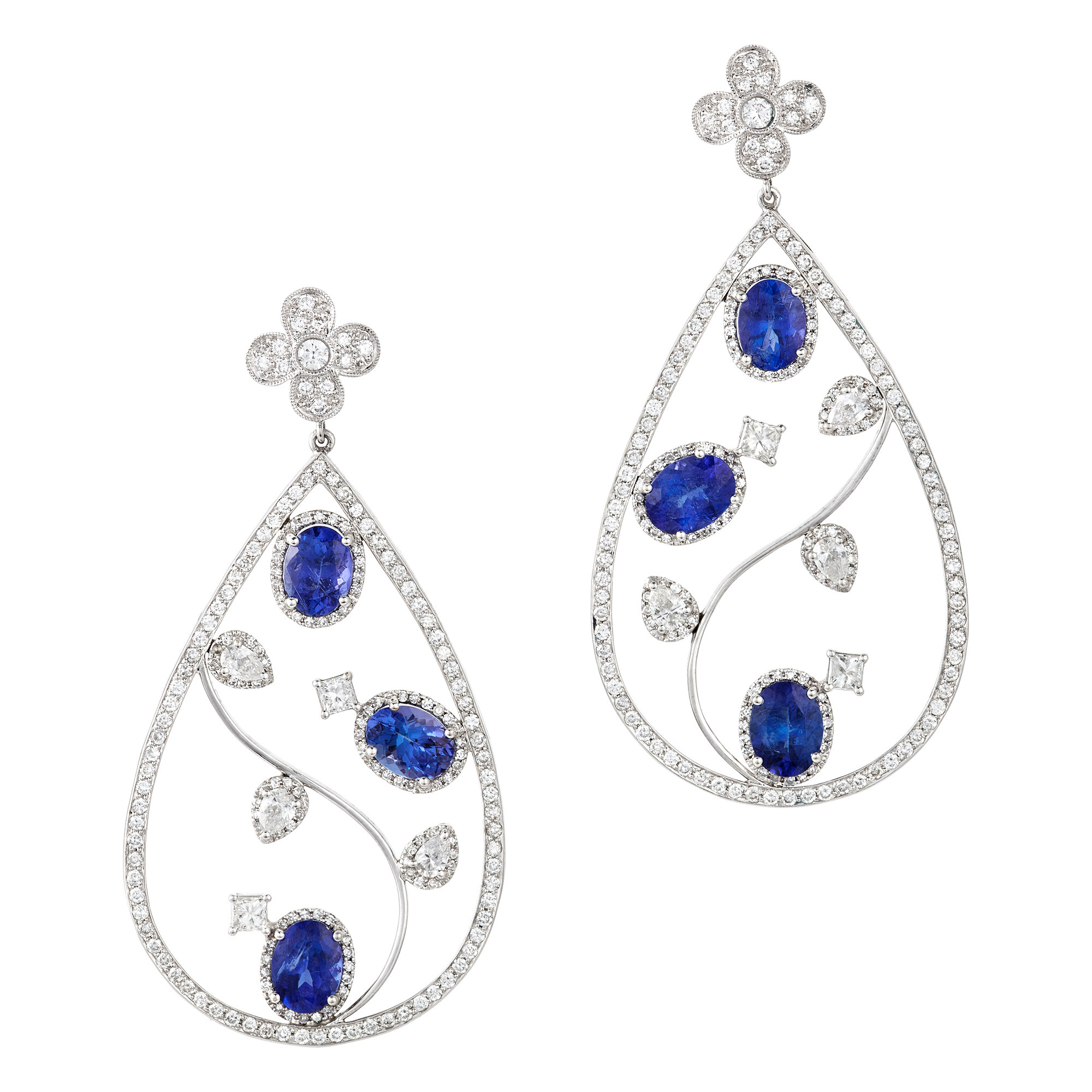 Lot image - Pair of White Gold, Diamond and Tanzanite Pendant-Earrings