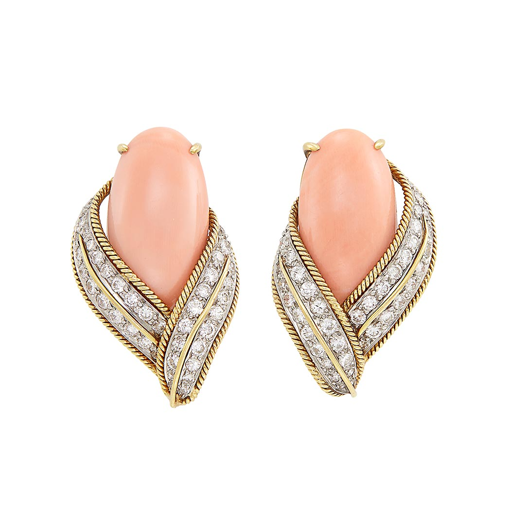 Lot image - Pair of Gold, Platinum, Coral and Diamond Earclips, David Webb