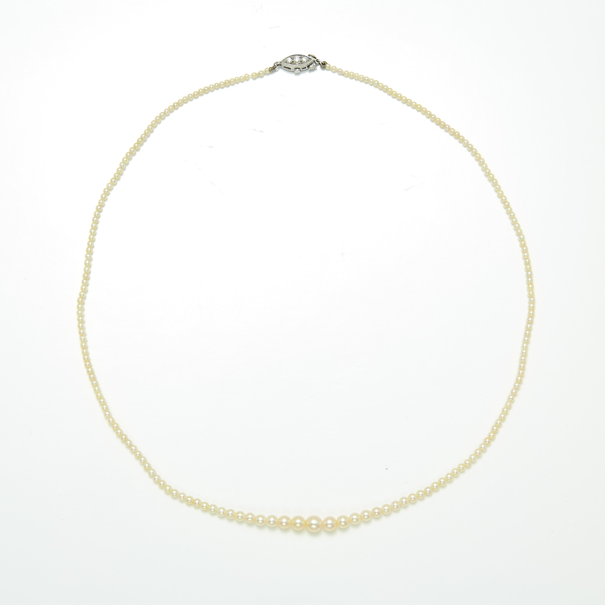 Lot image - Pearl Necklace with Platinum and Diamond Clasp, Tiffany & Co.