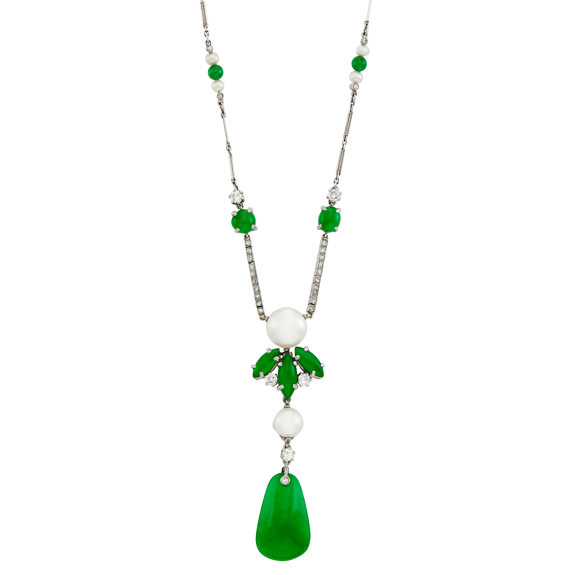 Lot image - Platinum, Jade, Freshwater Pearl and Diamond Necklace