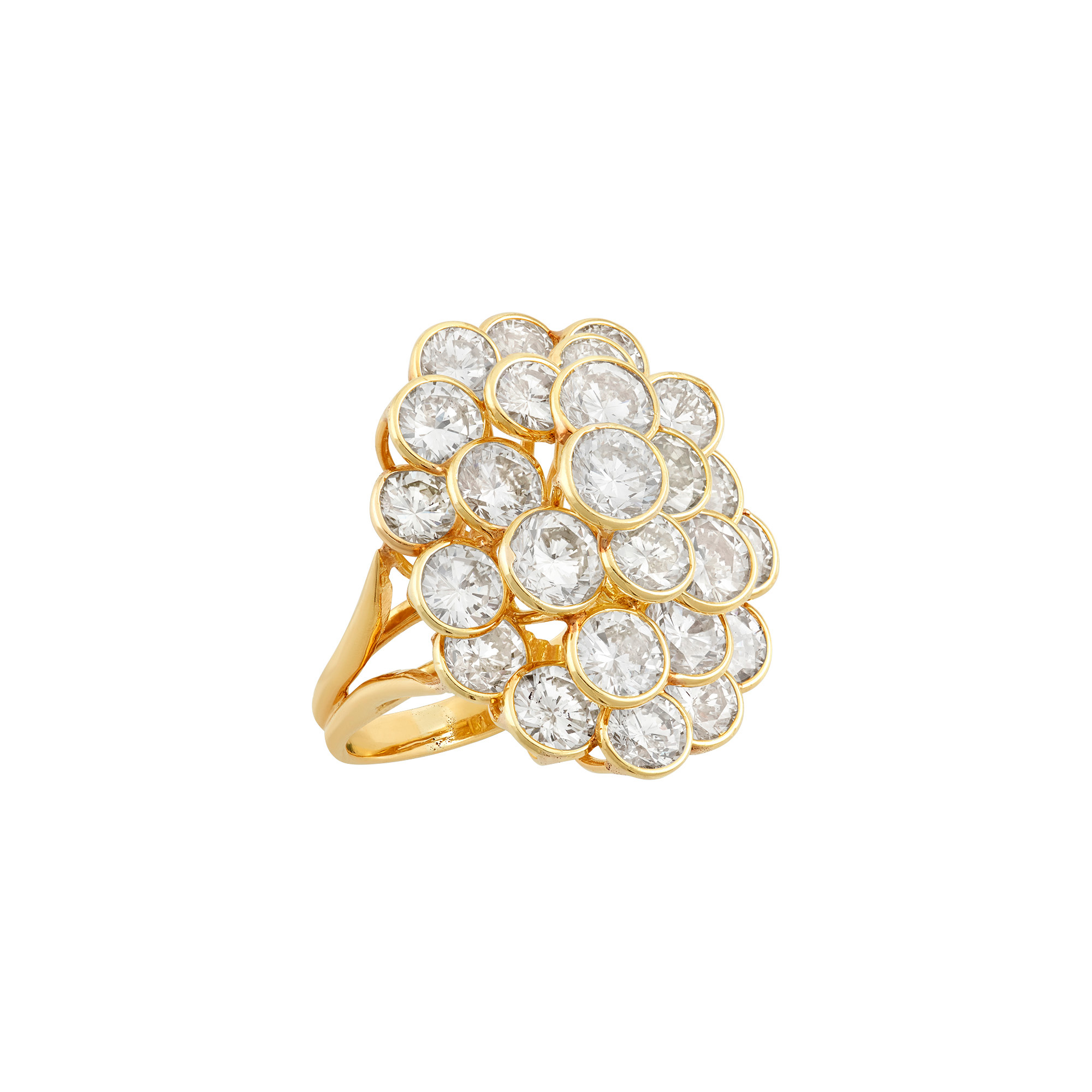 Lot image - Gold and Diamond Honeycomb Cluster Ring