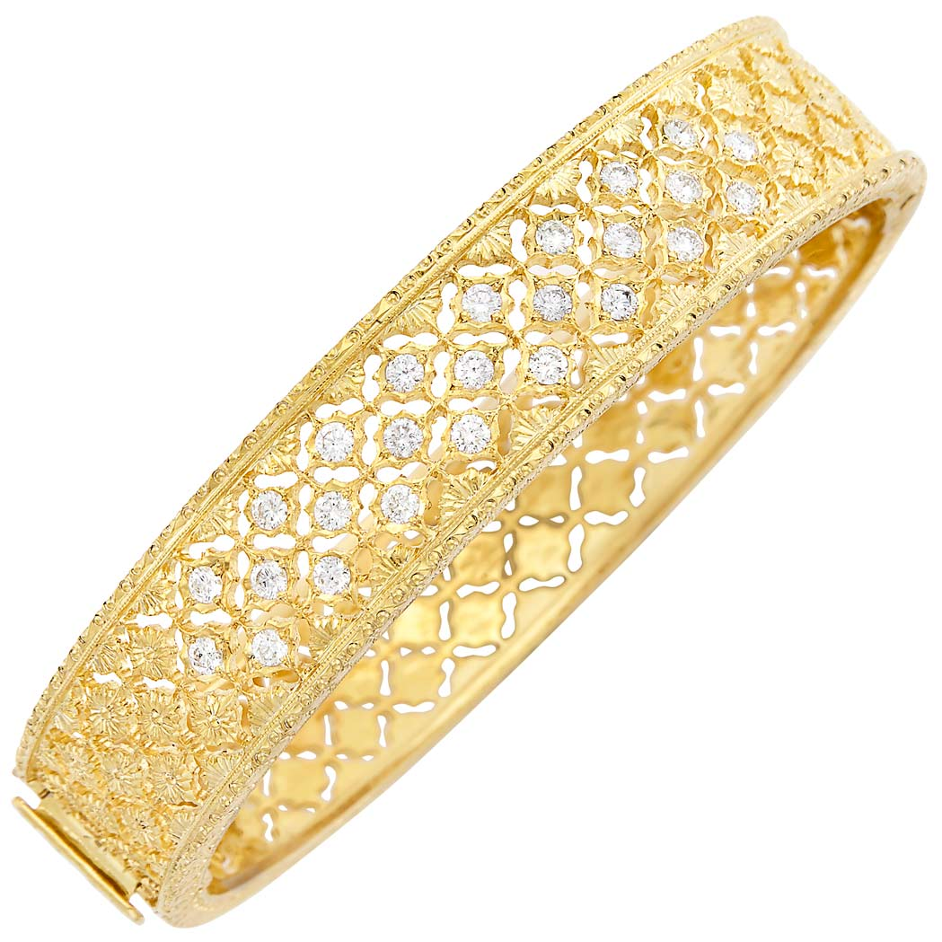 Lot image - Gold-Plated White Gold and Diamond Bangle Bracelet