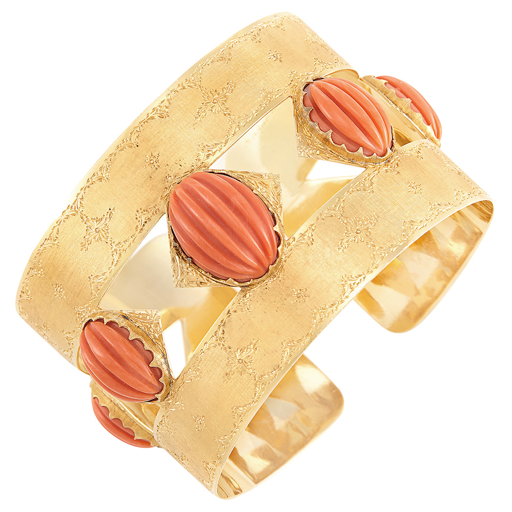 Lot image - Gold and Carved Coral Cuff Bangle Bracelet, Mario Buccellati