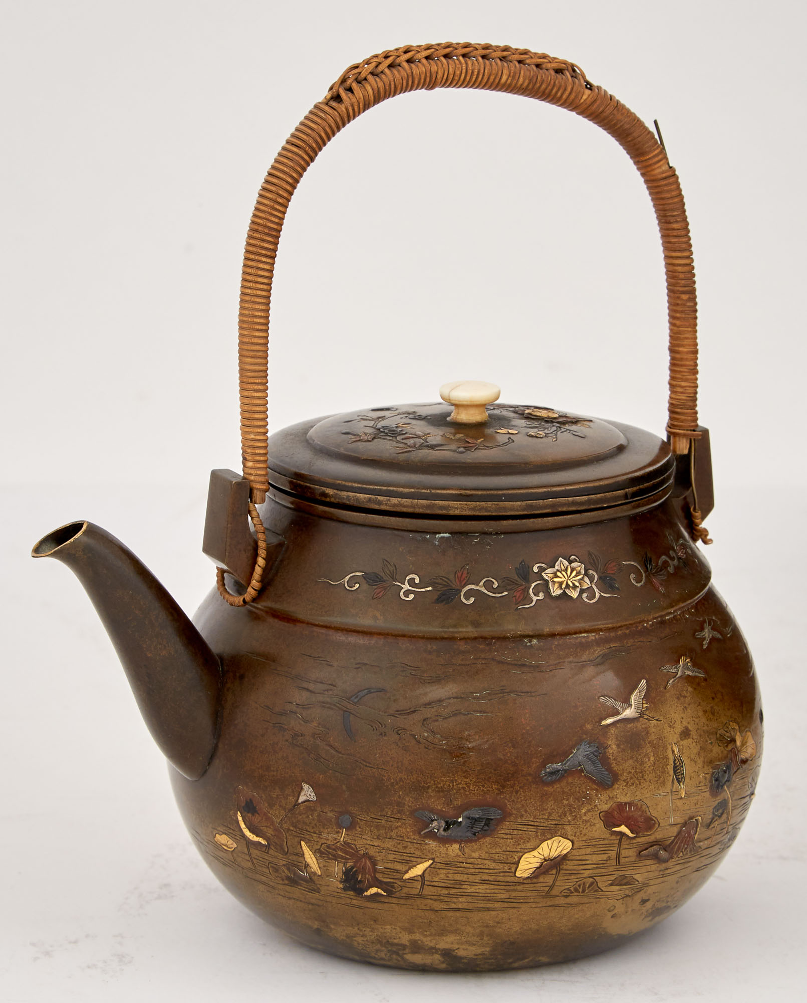 Lot image - Japanese Mixed Metal Inlaid Bronze Teapot