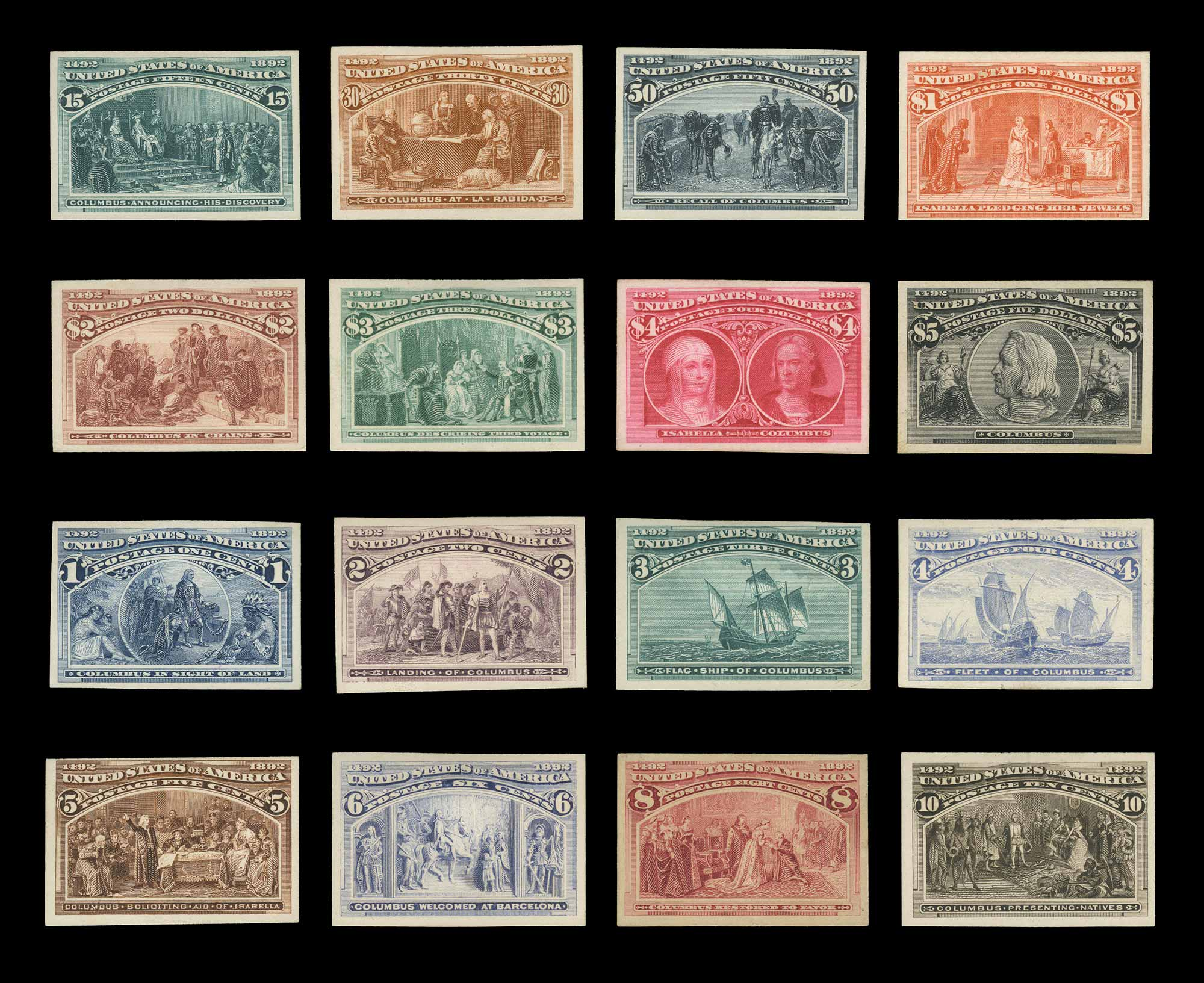 Lot image - United States 1893 Columbian Proofs, Sc. 230P4-245P4