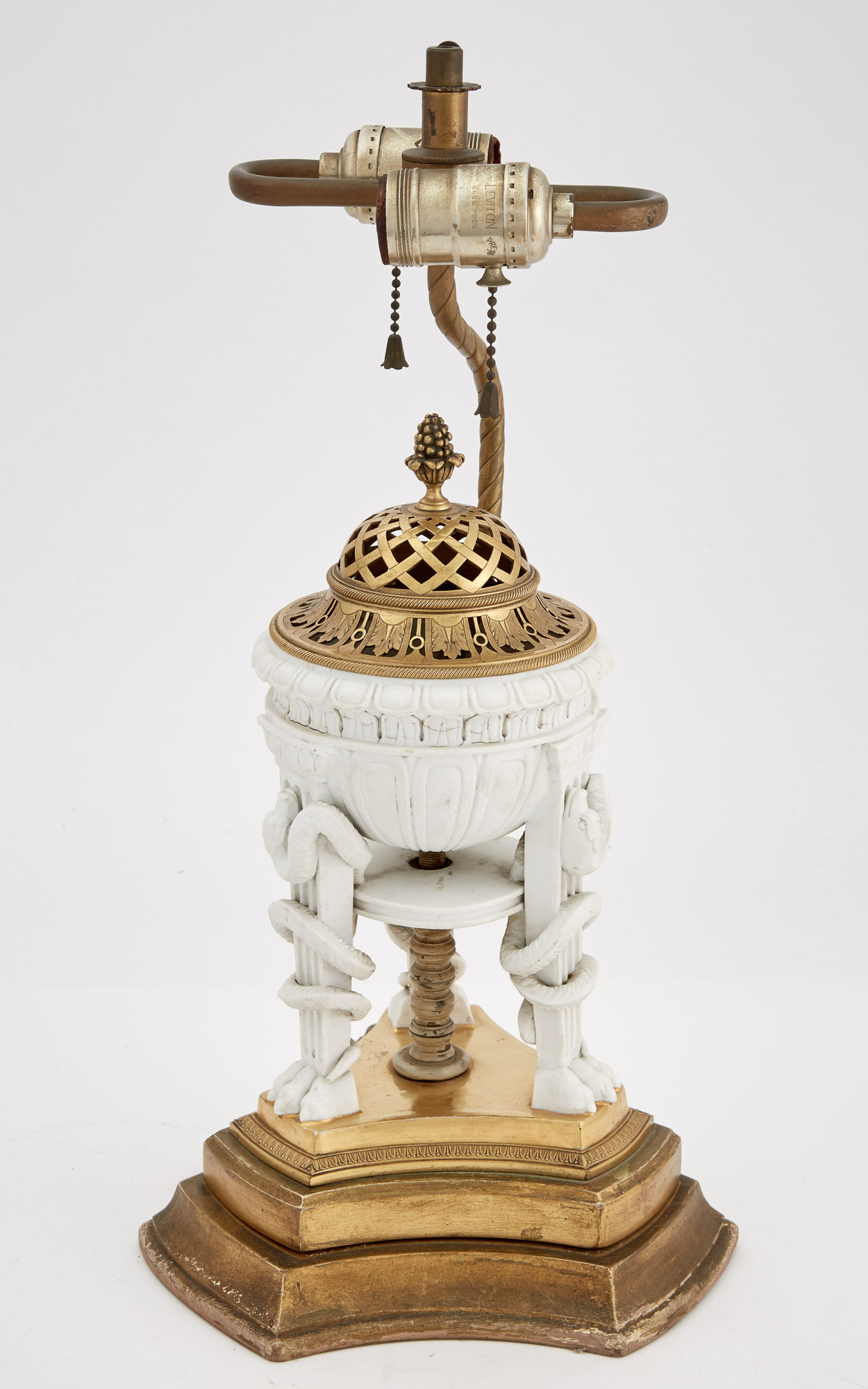 Lot image - French Gilt-Metal Mounted Parcel-Gilt Bisque Porcelain Brazier-Form Lamp