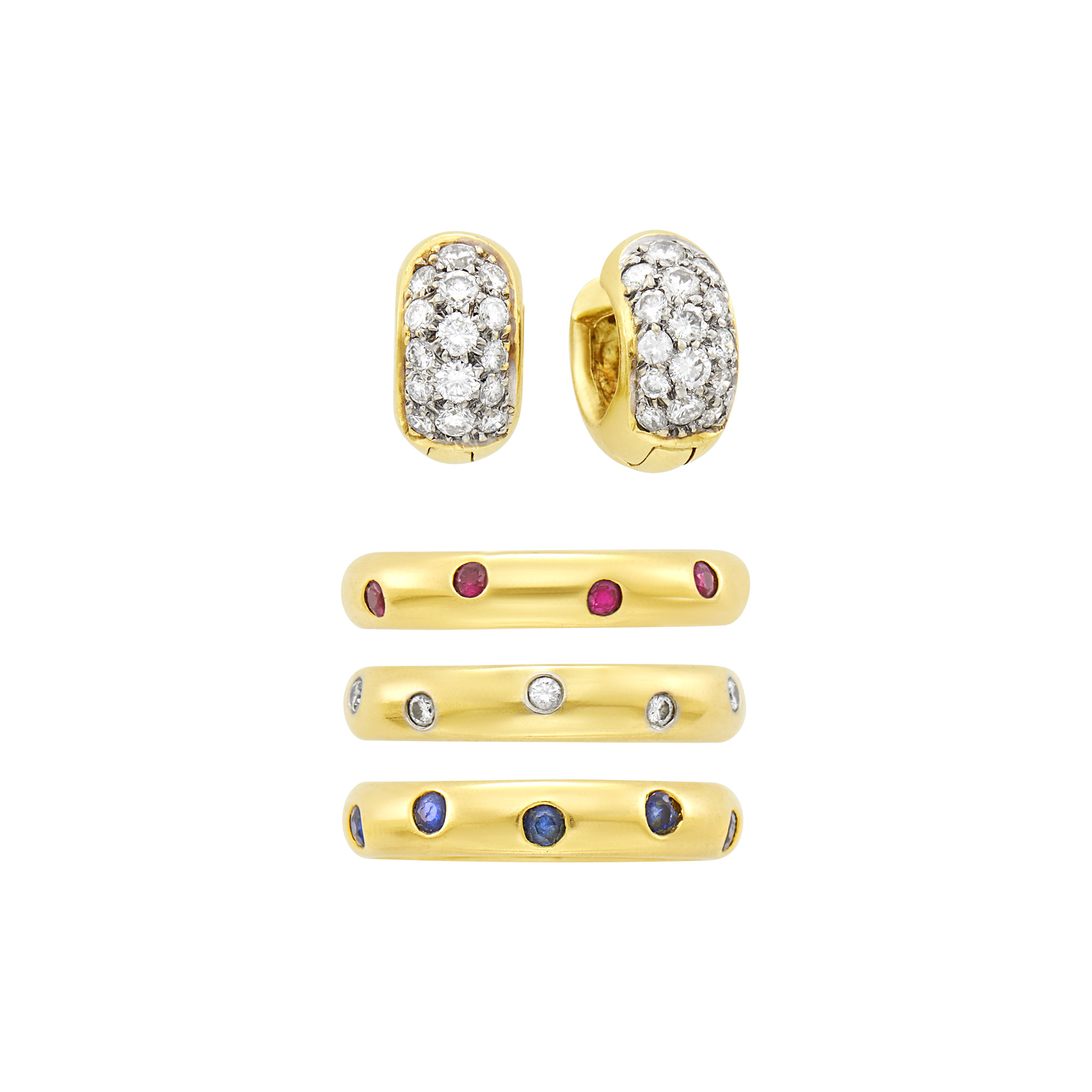 Lot image - Tiffany & Co. Three Gold, Diamond, Ruby and Sapphire Etoilé Band Rings and Pair of Gold and Diamond Huggie Earrings
